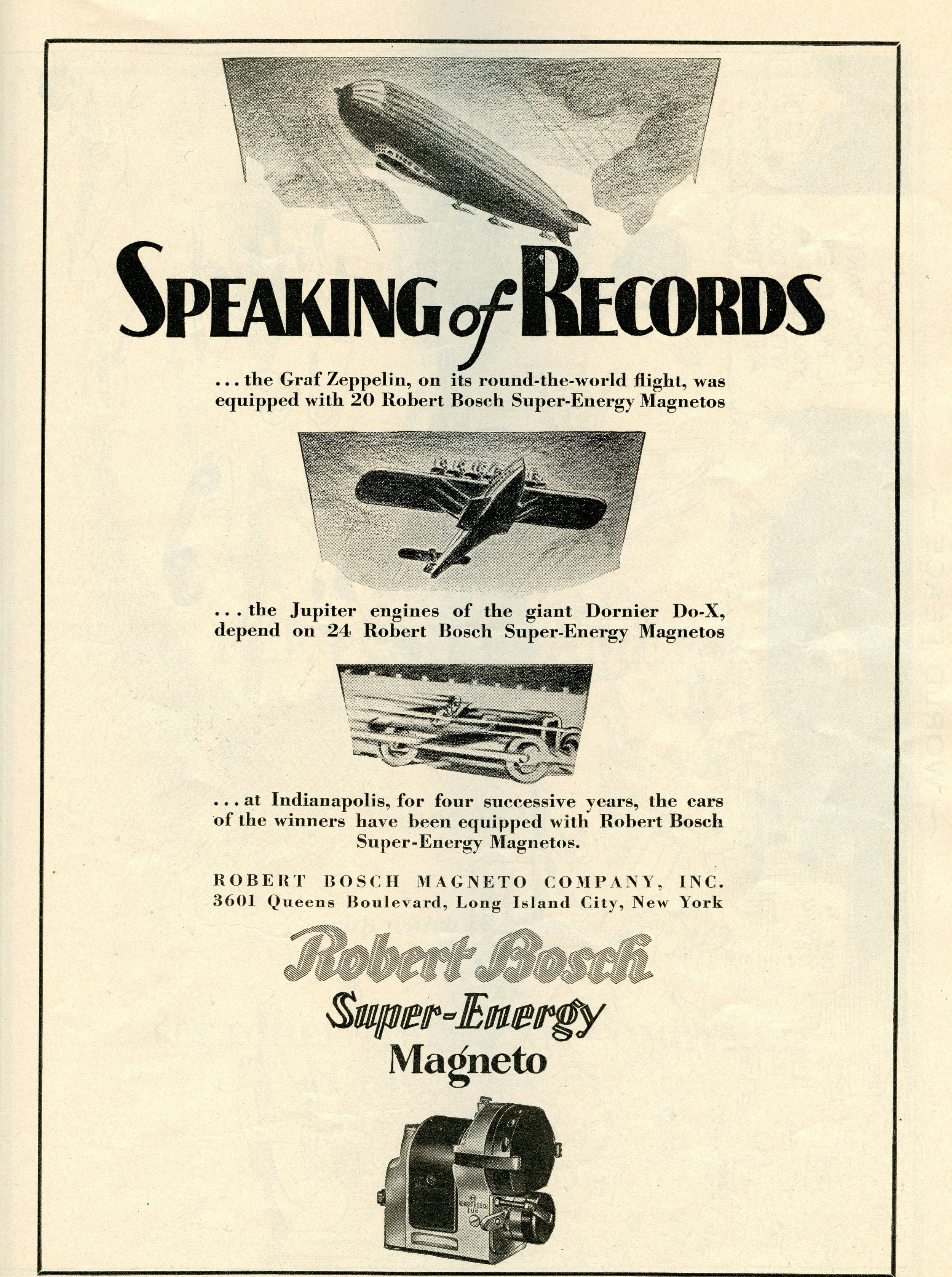 Robert Bosch Magneto Company Inc. Advertisement, Indianapolis 500 Program, 1930, page 53. WOS#2719