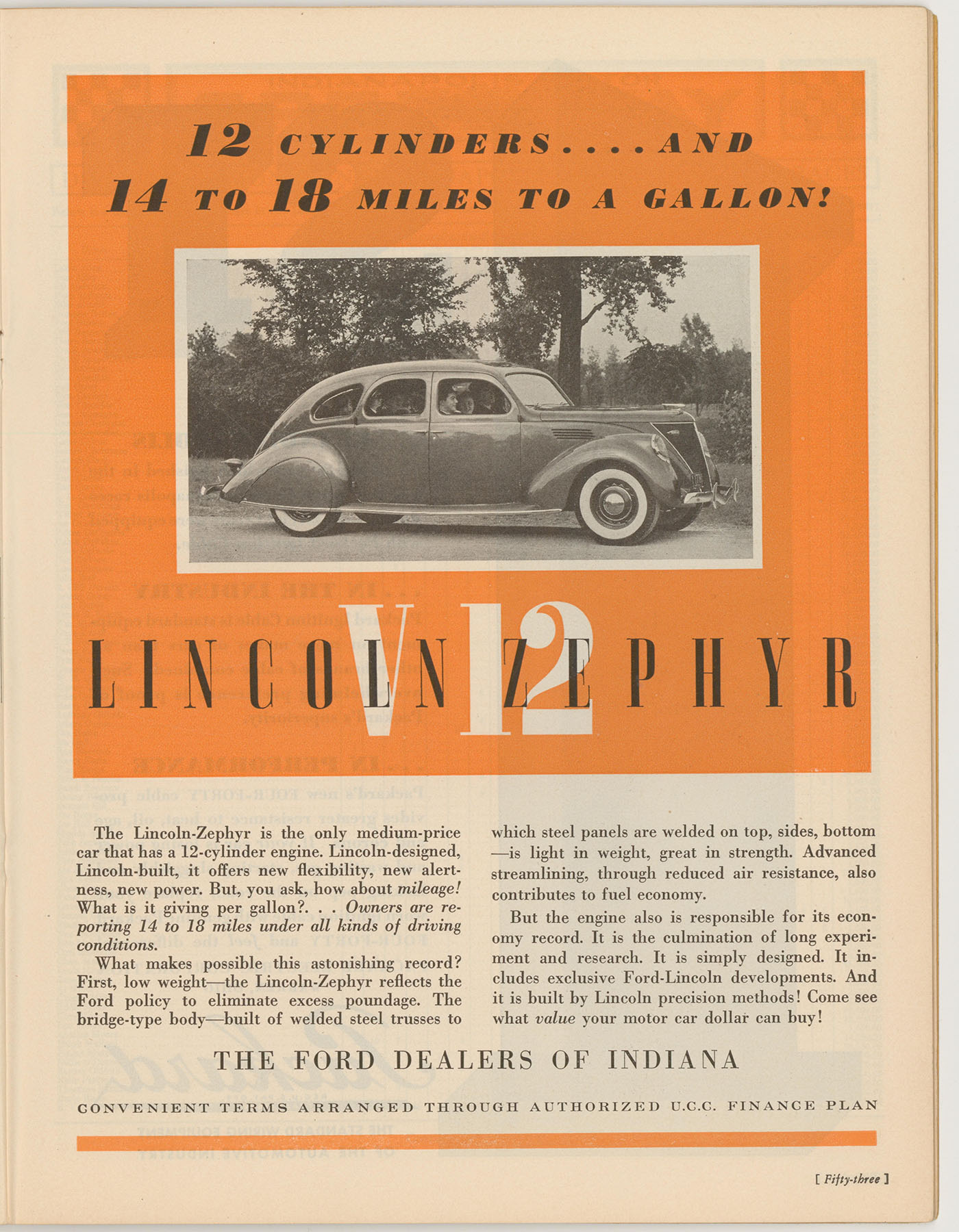 Lincoln Zephyr Advertisement, Indianapolis 500 Program, 1936, page 53, WOS#2724