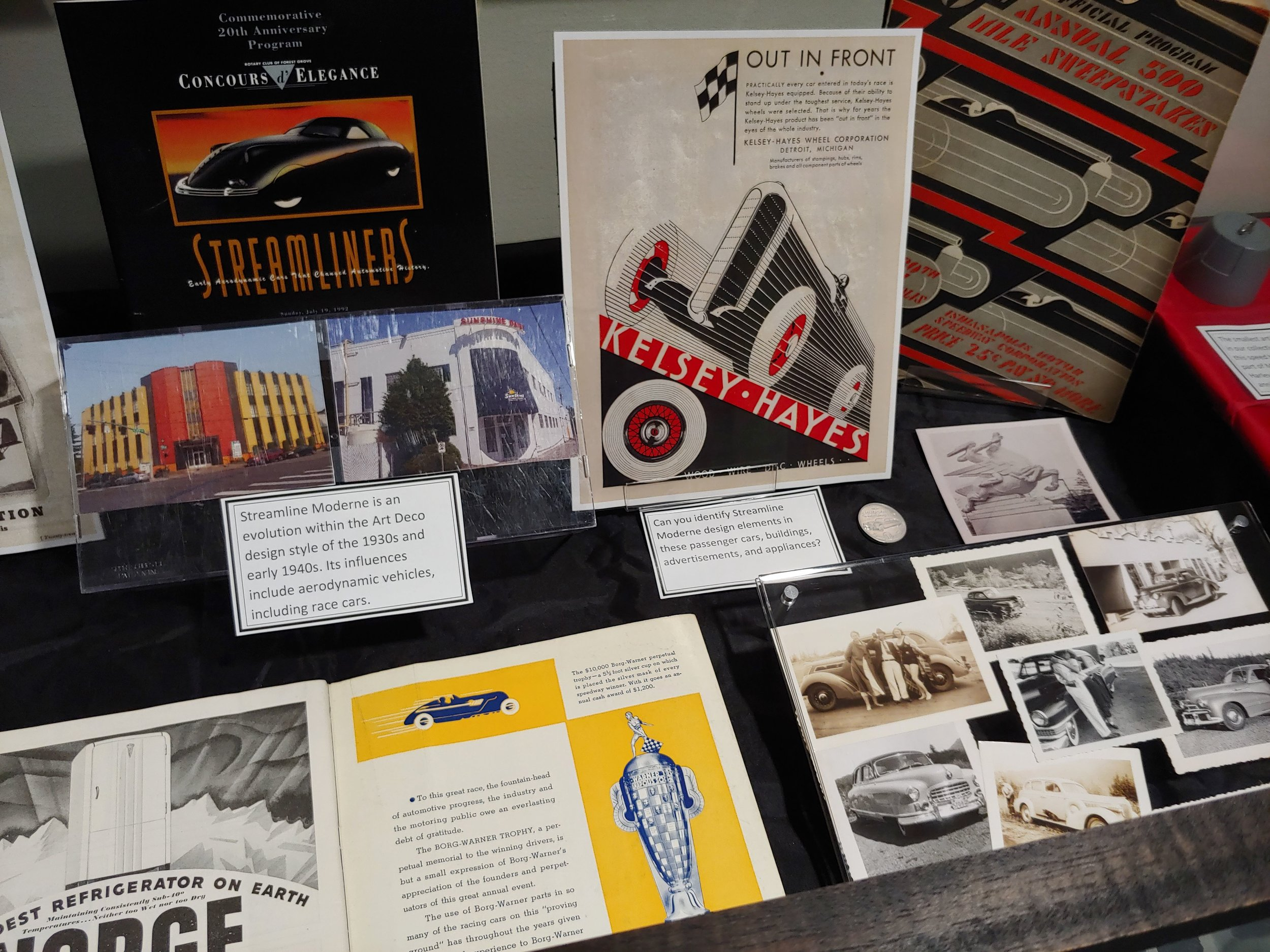 Archive Room display case focused on Streamline Moderne; related WOS Archive blog post article available*
