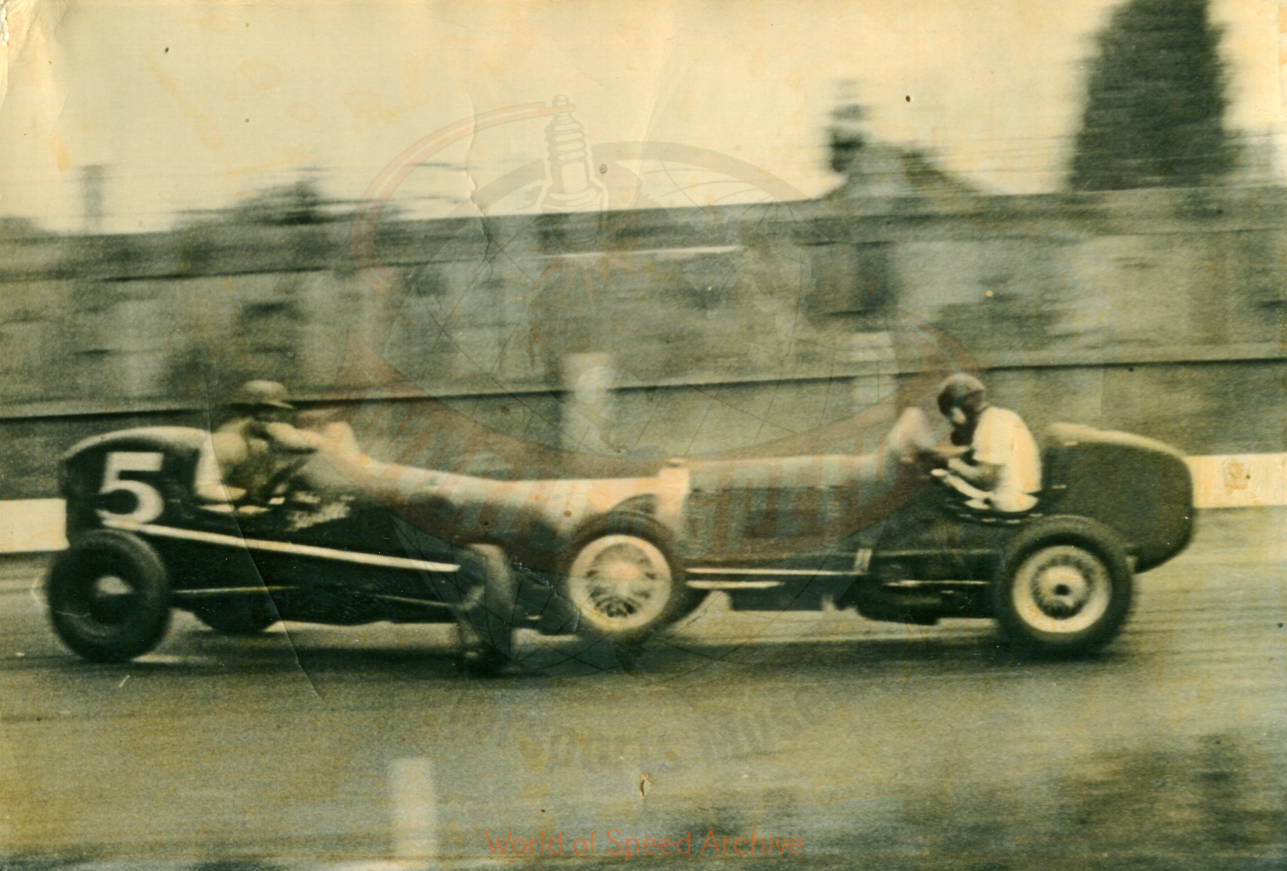 Hildick Photo Collection WOS#5072, BH027  Received submission:  #5 Marvin Cox, #46 Gordy Youngstrom (Scovell's car); 1947 Portland Speedway