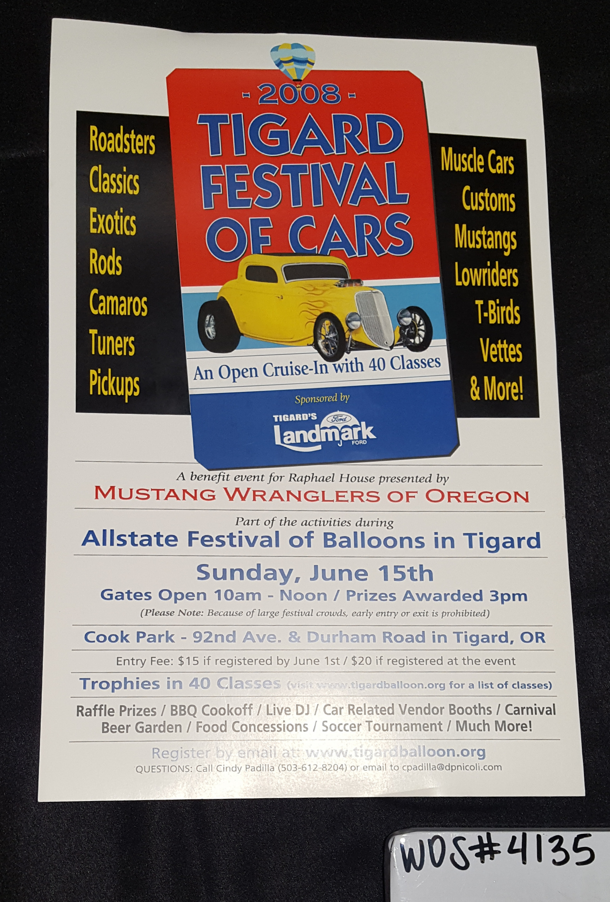 Tigard Festival of Cars Poster, 2008; WOS#4135