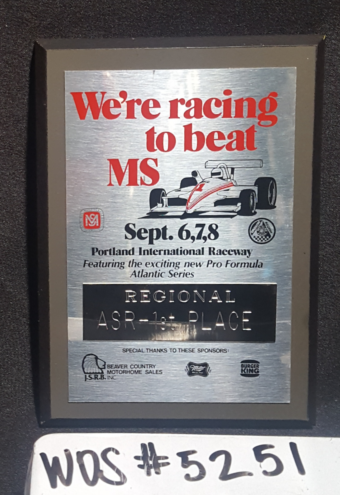 Racing to Beat MS, Regional ASR Plaque; WOS#5251