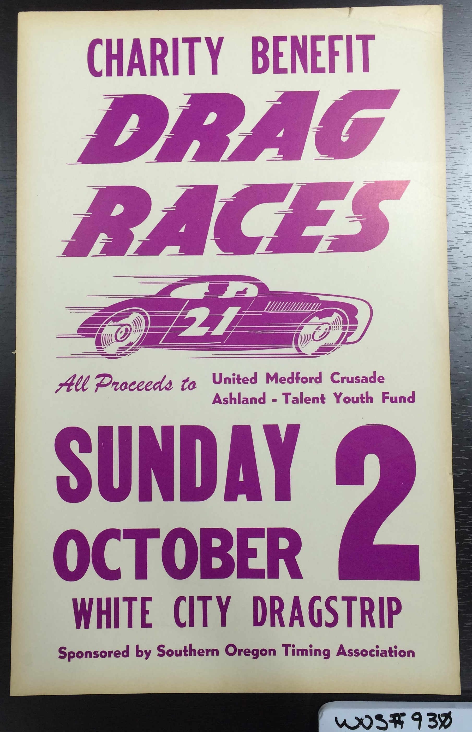 White City Dragstrip Poster, Charity Benefit Drag Races; WOS#0930