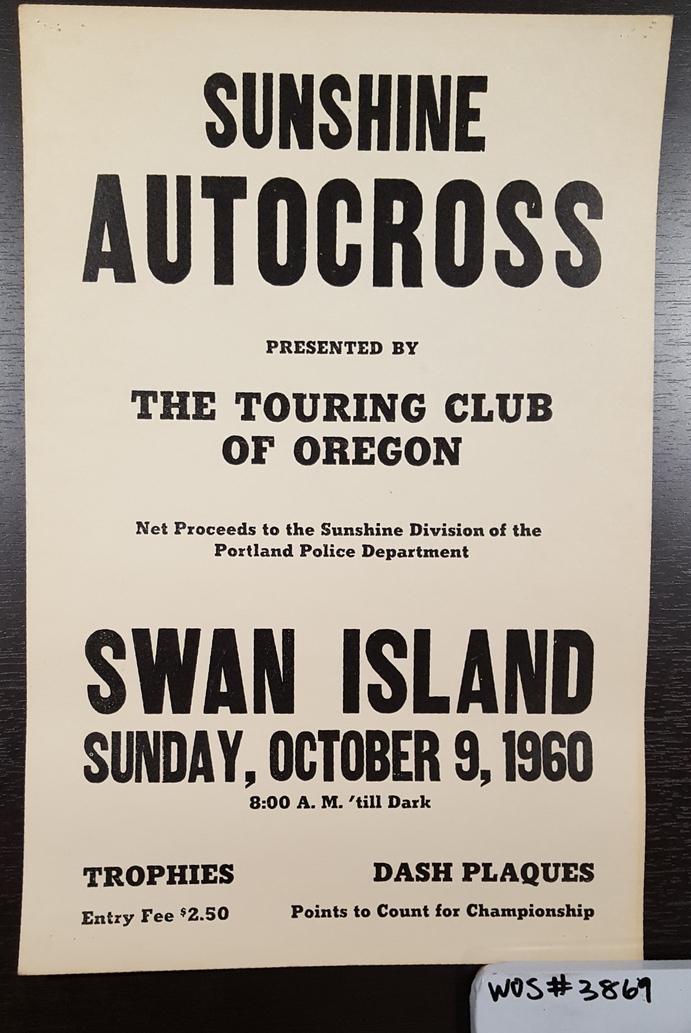 Sunshine Autocross Poster, Swan Island, Portland, OR; WOS#3869