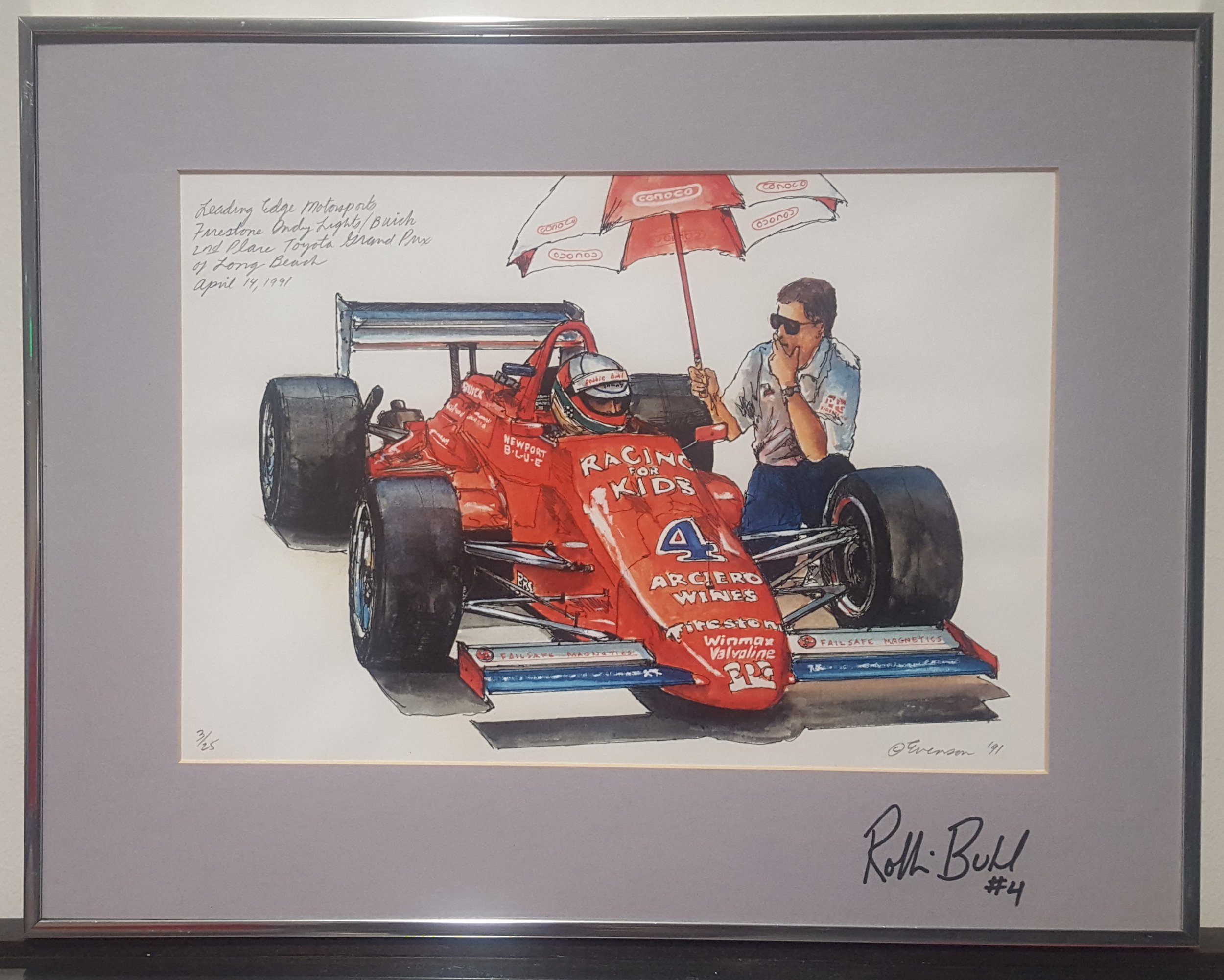 Don Evenson Print, Leading Edge Motorsports Firestone Indy Lights/Buick, 1991; on loan to WOS Archive