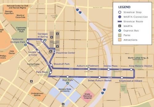 Atlanta streetcar route