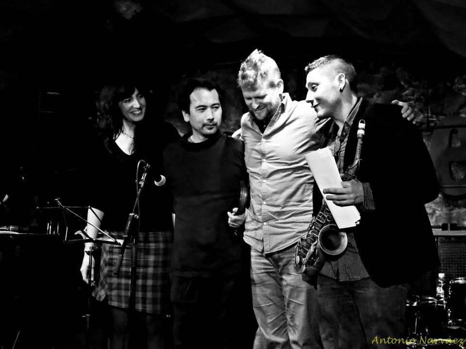 from Left to Right: Eva Novoa, Masa Kamaguchi, André Sumelius and Ernesto Aurignac at Jamboree cd release  Fresh Sound New Talent Night in Barcelona