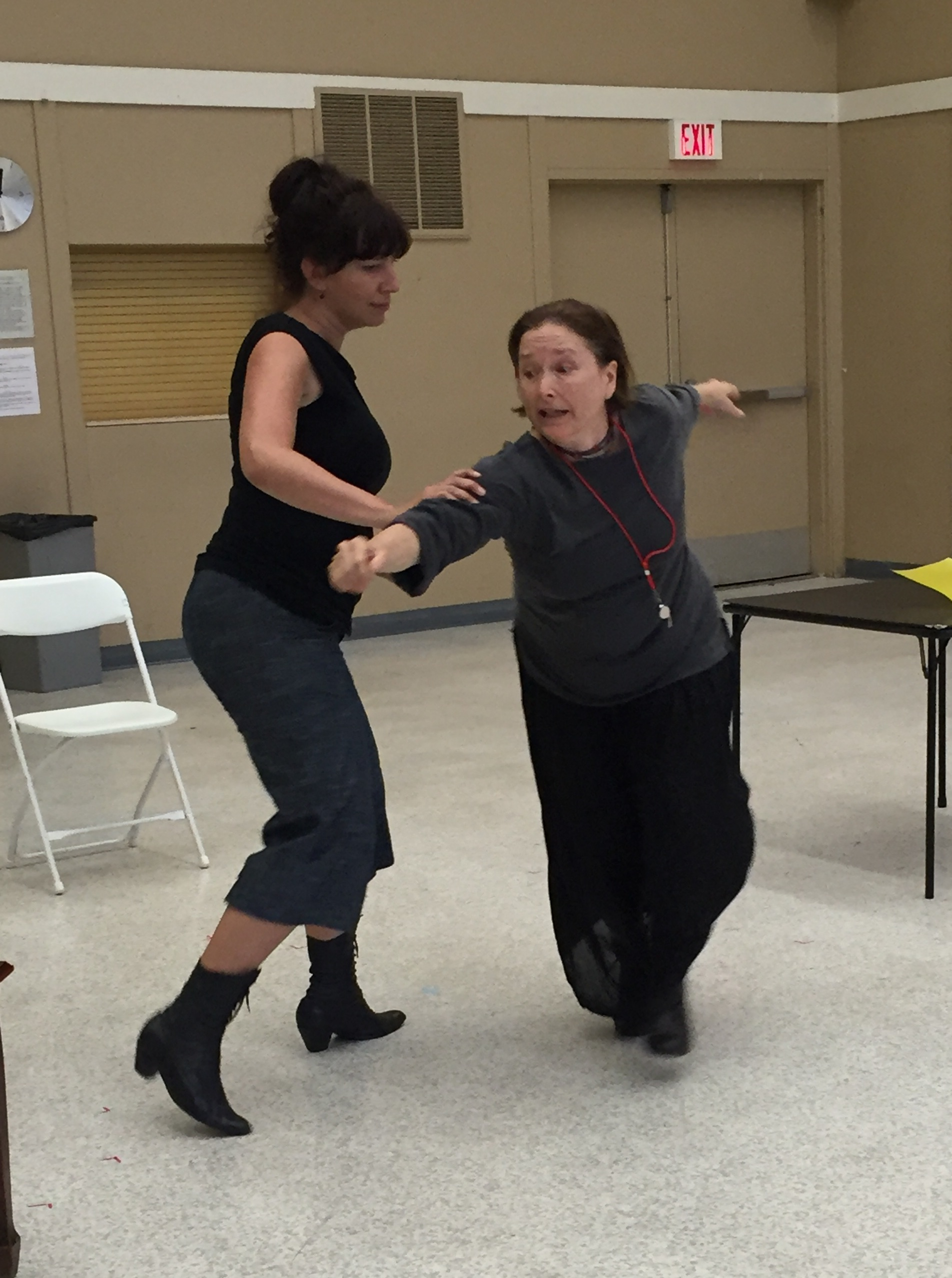 Rehearsing a fight with Sarah May Redmond. Just off camera is our fight choreographer, Derek Metz... who has faith that I'll get there, eventually!