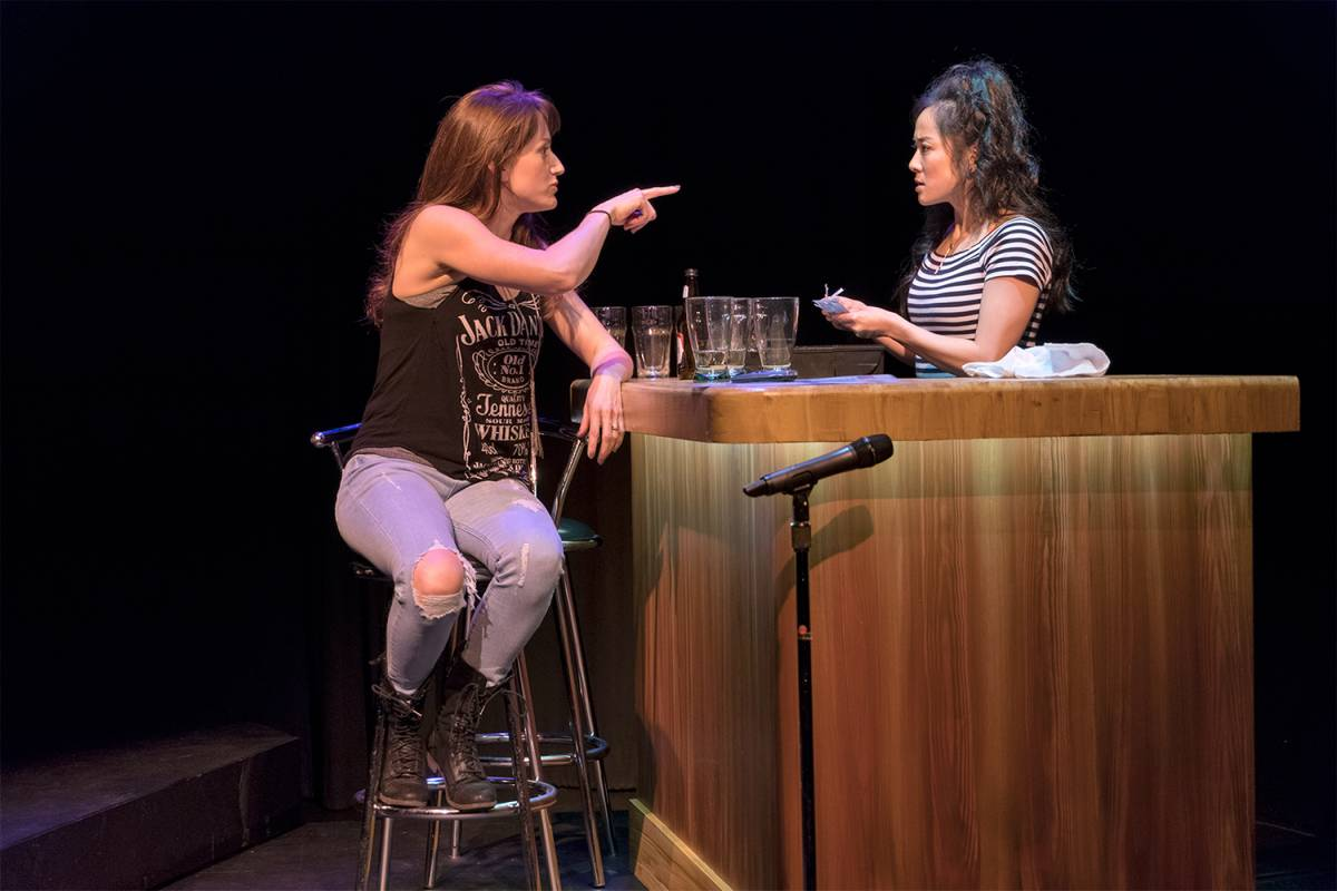 Meghan Gardiner and Agnes Tong in Diane Brown's March 2018 production of Catherine Léger's  I Lost My Husband!  (Ruby Slippers Theatre and Gateway Theatre) .  Costumes by Hannah Case; set and lighting by John Webber; photo by David Cooper.