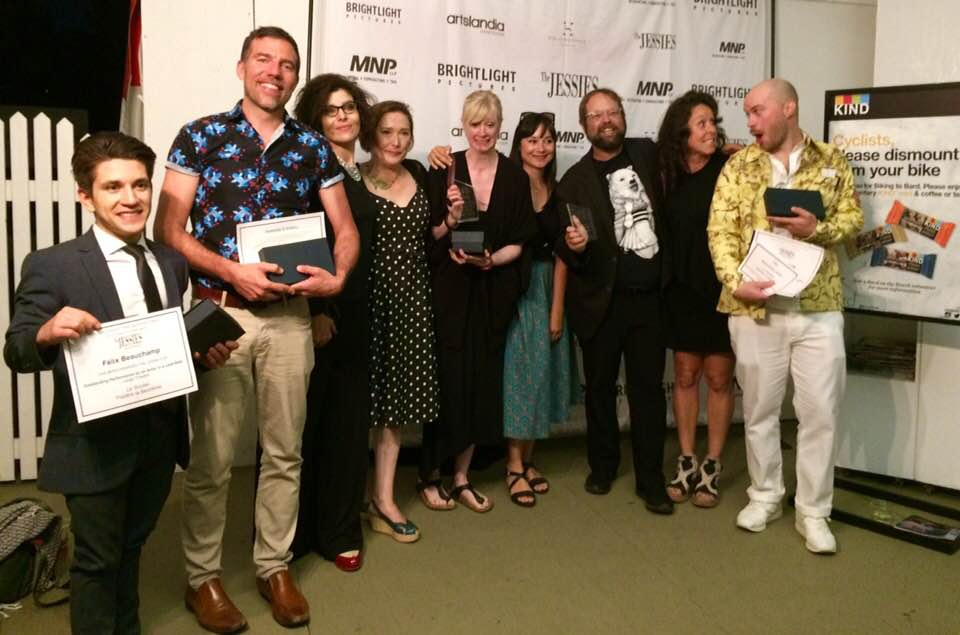 The cast and crew of Théåtre la Seizième's production of  Le Soulier  at the 2019 Jessie Awards. L-R: Félix Beauchamp, who won Best Actor; David Paquet, who won for Best New Play; pivotal cast member Annie Lefebvre; me; Gaëlle de Ruyter and Sarah Bouix of La Seizième; Itai Erdal (nominated for lighting design, he won for a different show); Best Actress nominee Prance Perras; and Best Sound Design winner Malcolm Dow.