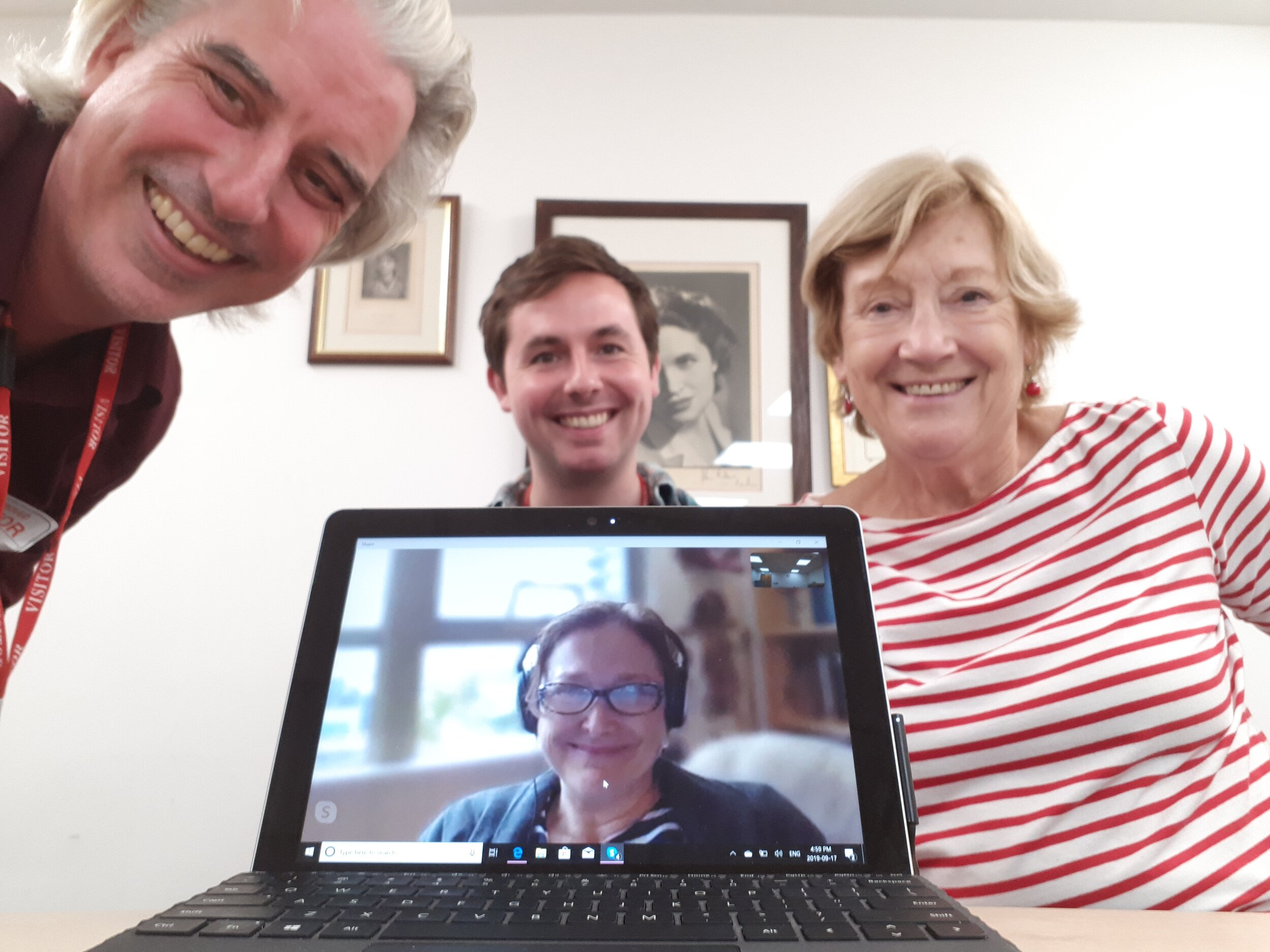 This translation workshop for Sébastien Harrisson's lyrical and personal  From Alaska  took place in the London offices of Equity (the UK actors' union), with me joining in by Skype. L-R: Director John Jack Paterson, James watterson, and Joan Blackham. You were all quite brilliant.