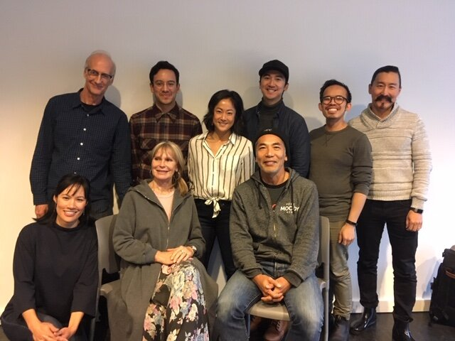Our Playwrights Theatre Centre  Salesman in China  workshop had yet another exceptional Vancouver cast. Back row L-R: Peter Anderson, Conor Wylie, Agnes Tong, Lou Ticzon, Chris Lam, and Tetsuro Shigematsu. Front row L-R: Donna Soares, Susan Hogan, and Hiro Kanagawa. Not pictured: Our dramaturg and workshop director Kathleen Flaherty; cultural consultants Xin Xuan Song, Steven Siyuan Liu, and Fang Zhang Helwig (who will also be translating our text into Mandarin.) Photo by my co-writer, Jovanni Sy.