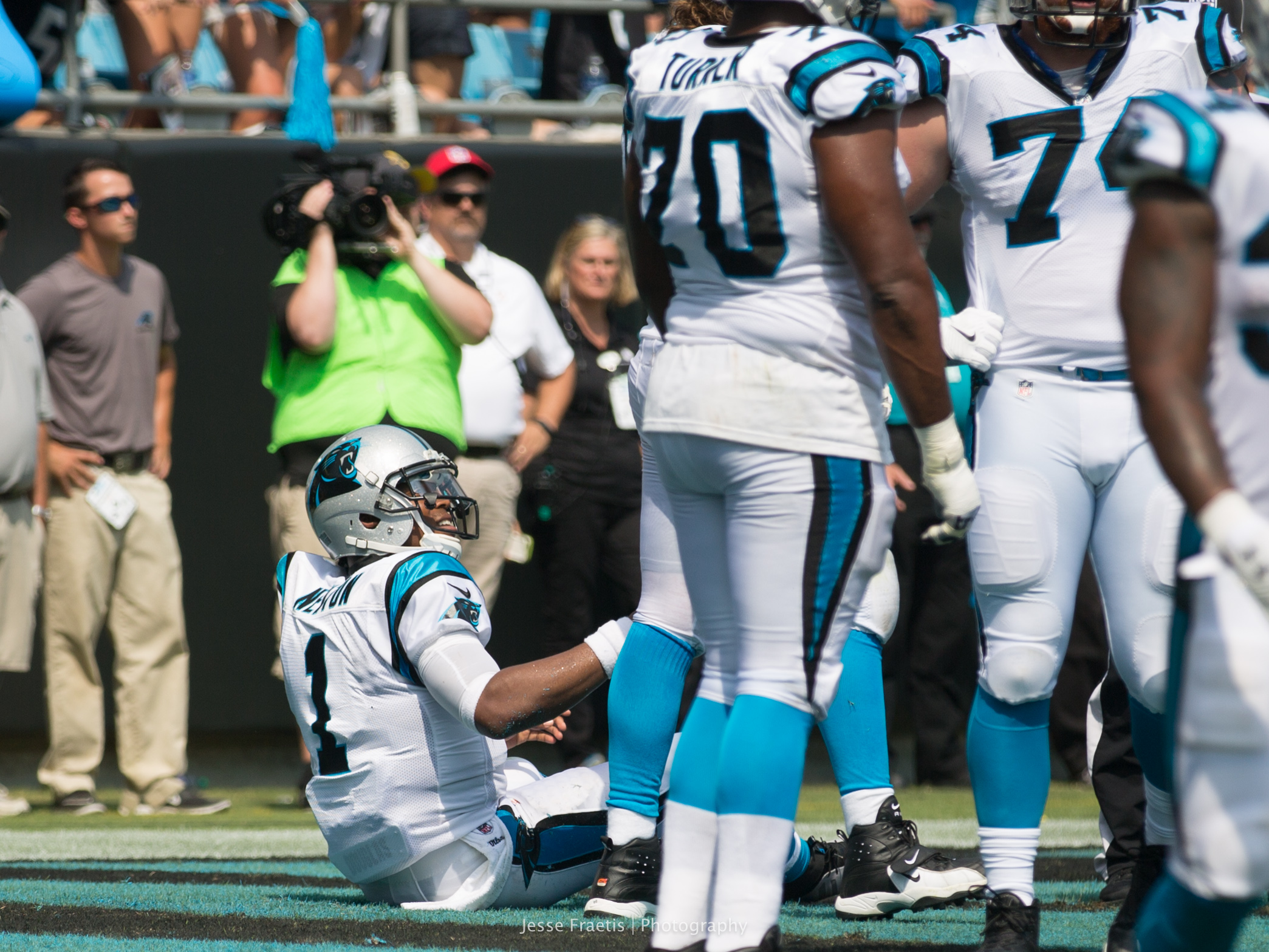 After the safety, Cam's lineman help him up - something they had to do far too often..