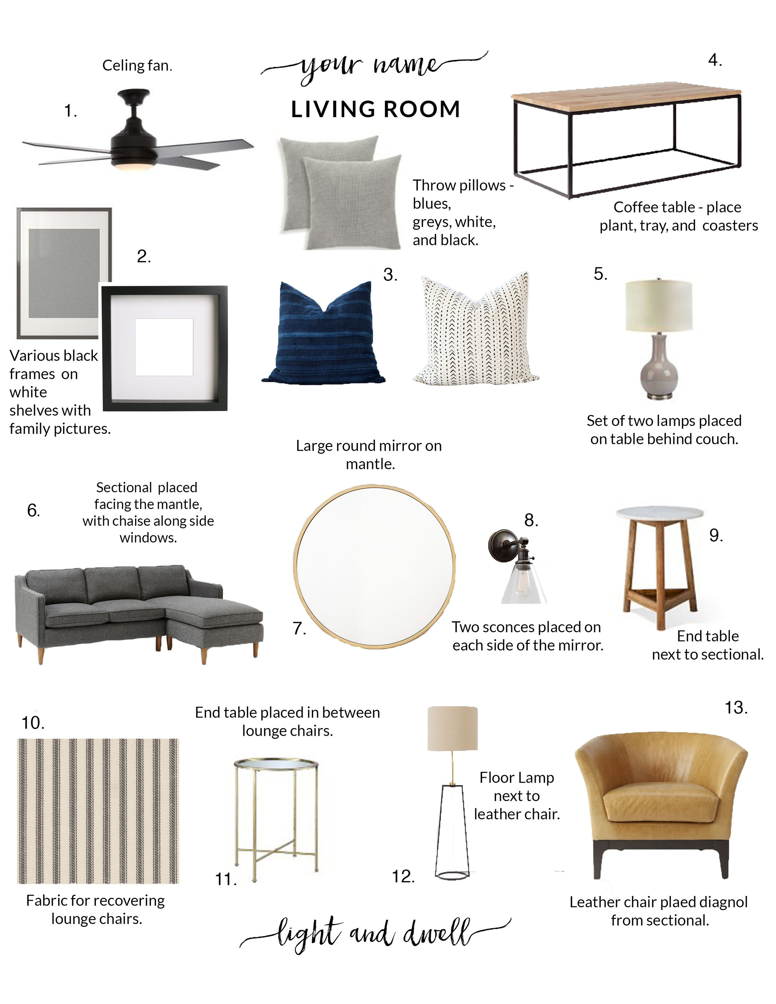 This style board was created by Light and Dwell, llc.