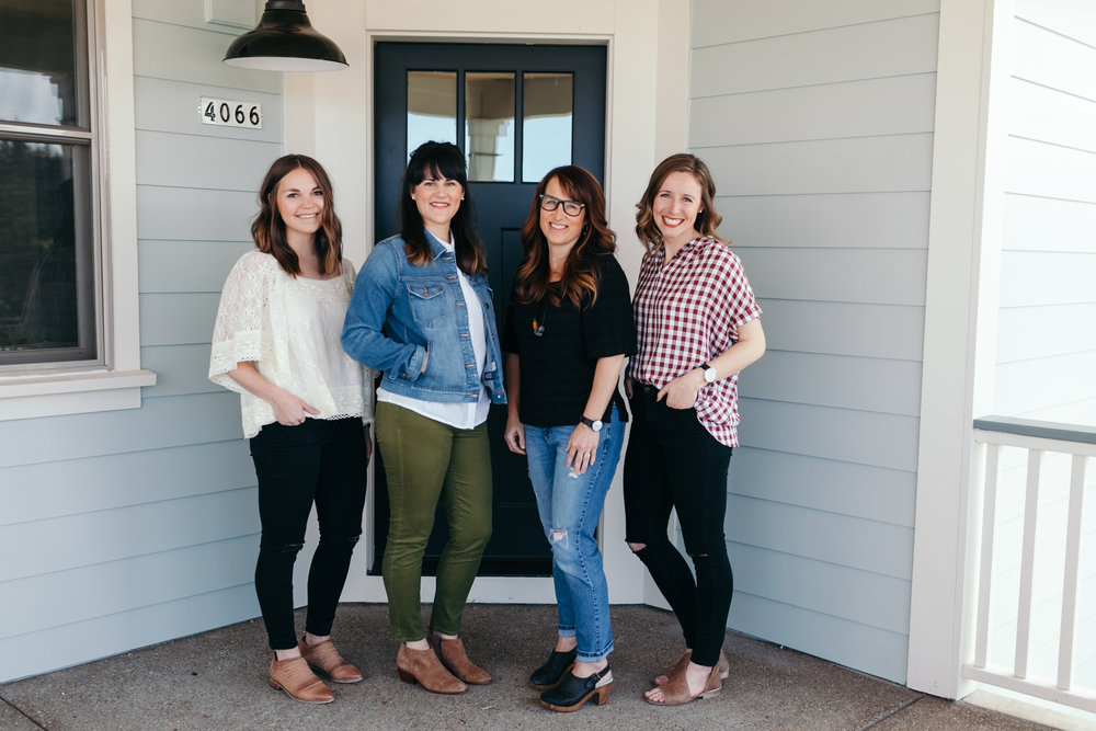 From right to left: Molly (Creative Director + Lead Interior Designer), Ashley (Interior Designer), Aymee (Business Director + Client Relations), Sarah (Brand Director + Photographer)
