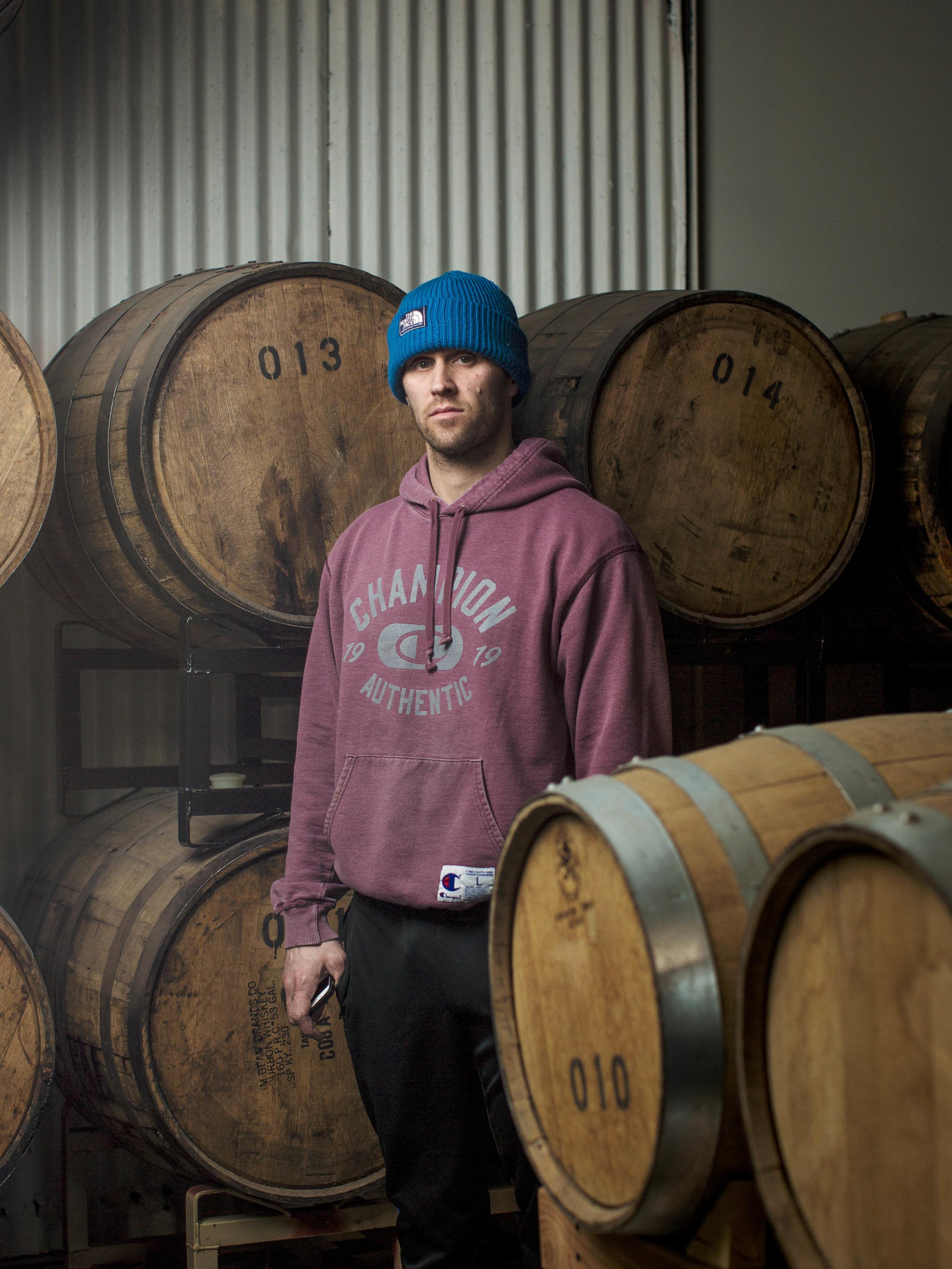 DeAngelo in the Greenhook Gin barrel room