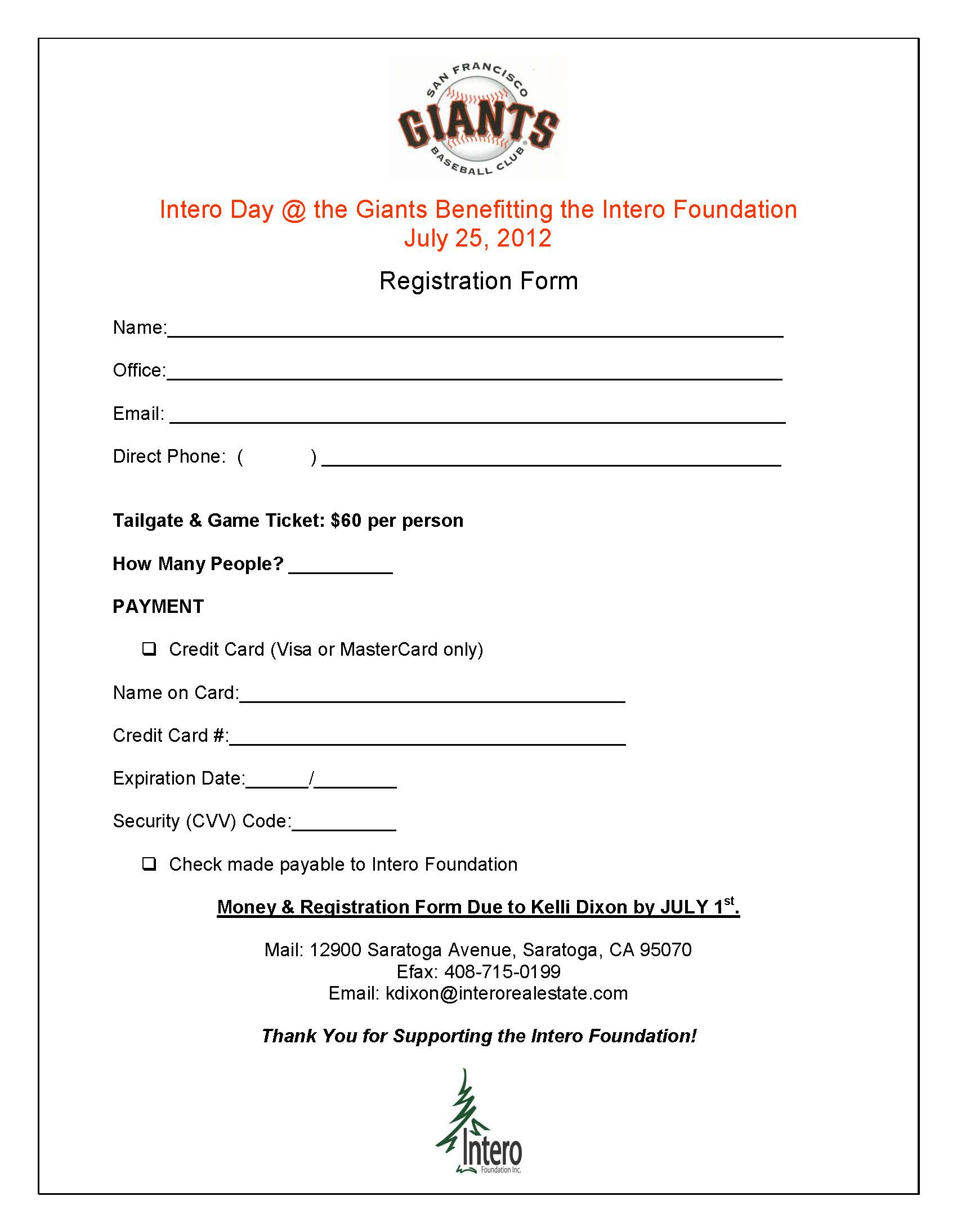 Intero Giants Game Registration Form