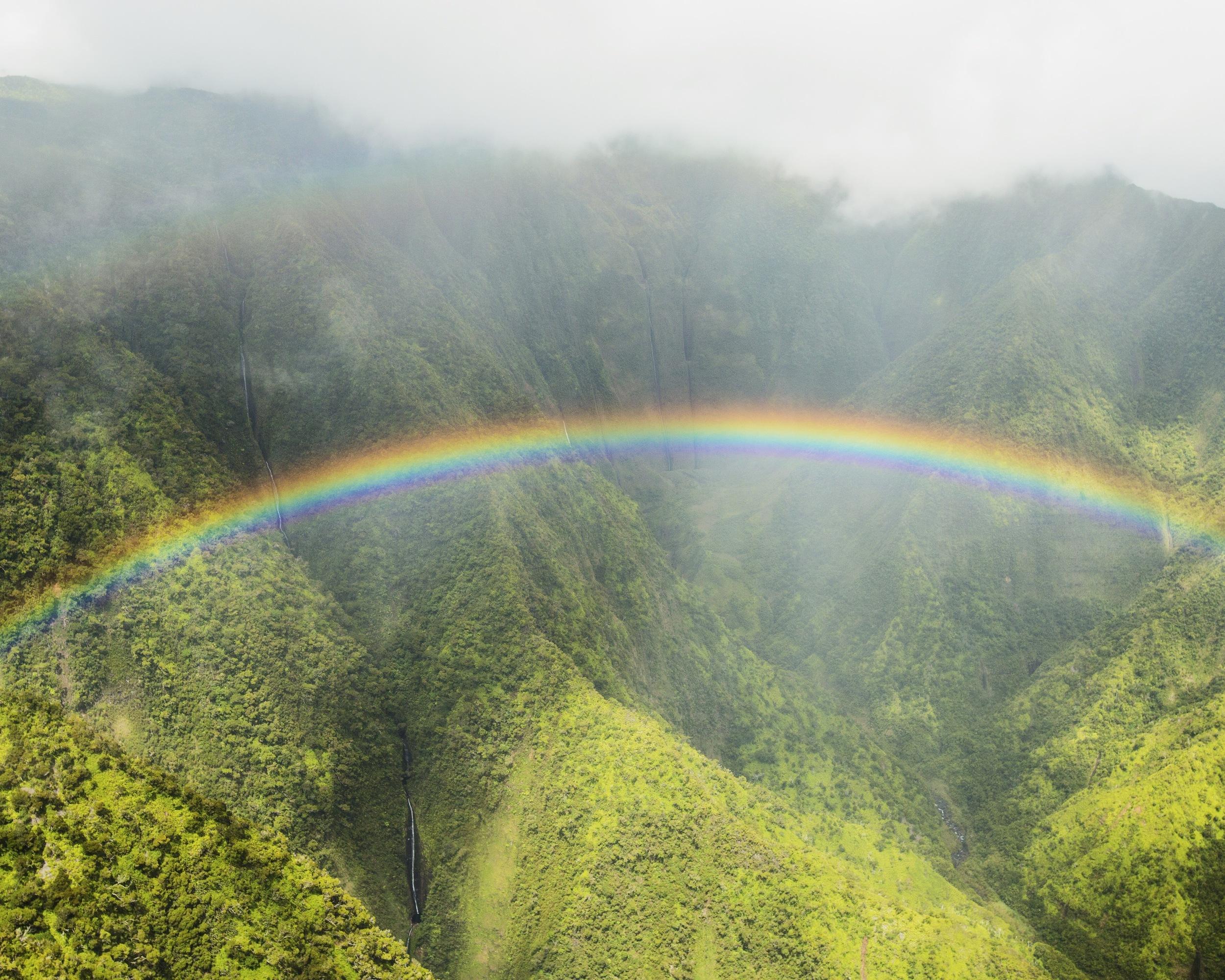 Rainbow and Waterfalls in Kauai