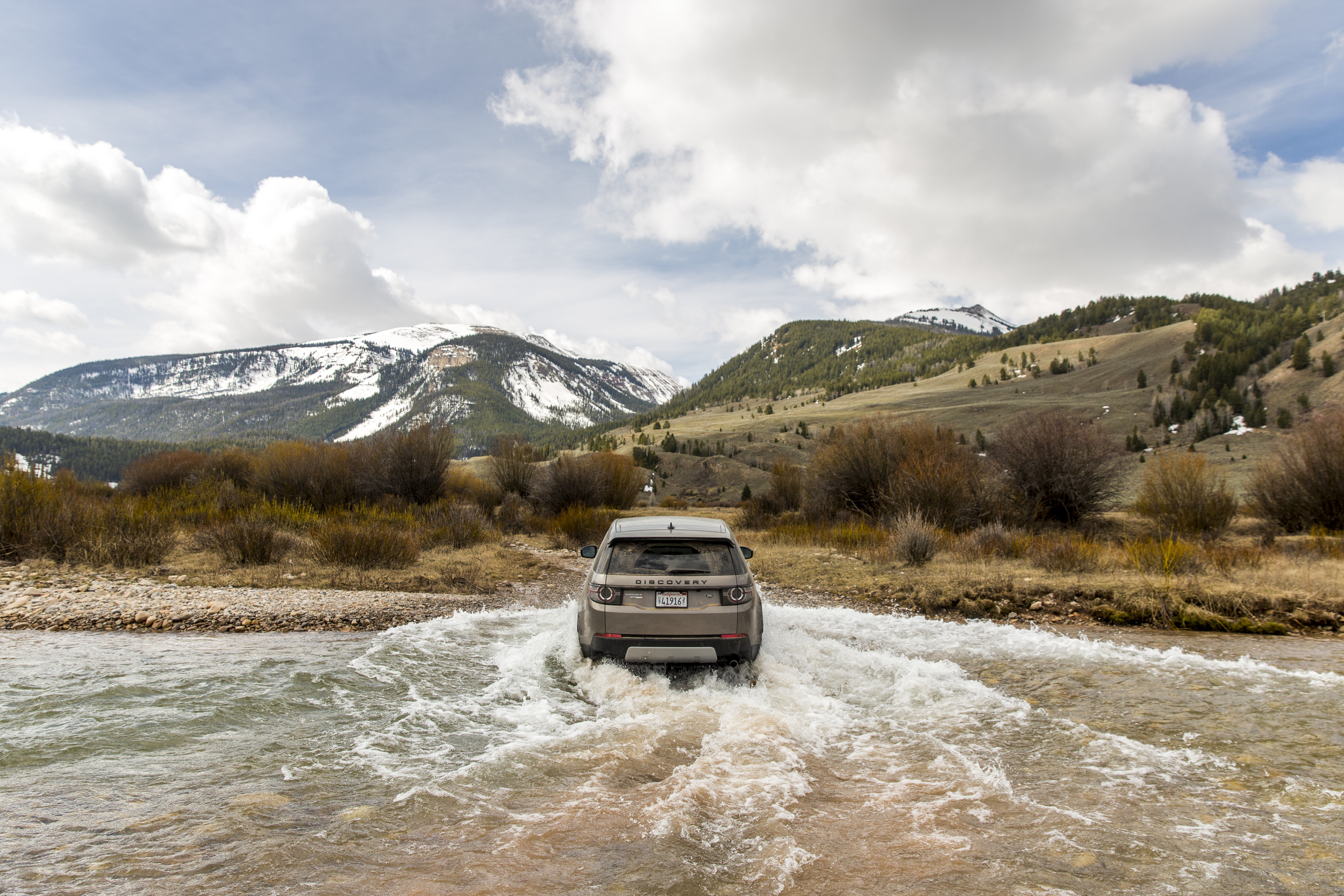 Our Land Rover crossing a river in Wyoming