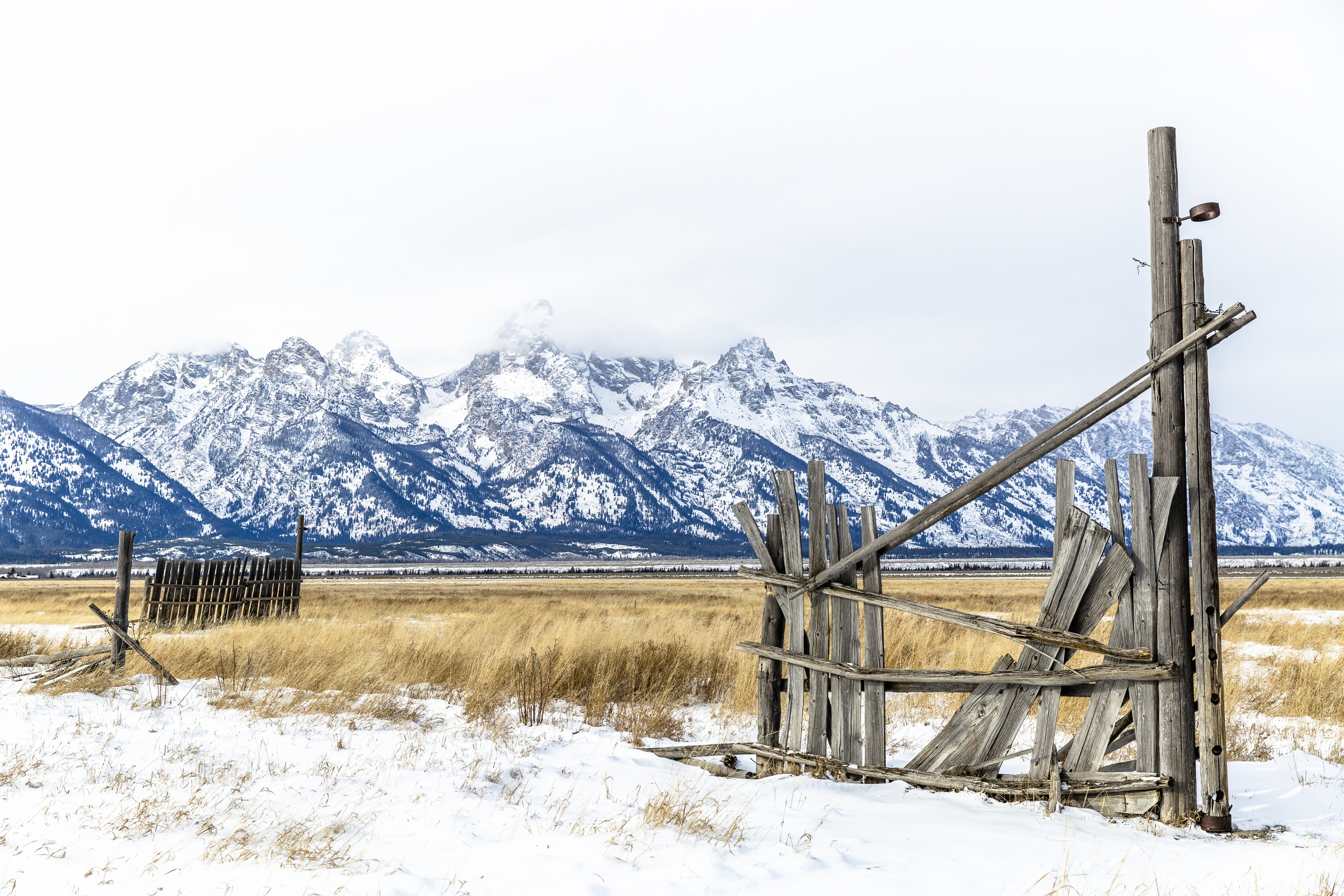 The Grand Tetons covered in snow, with an old fence in the foreground.