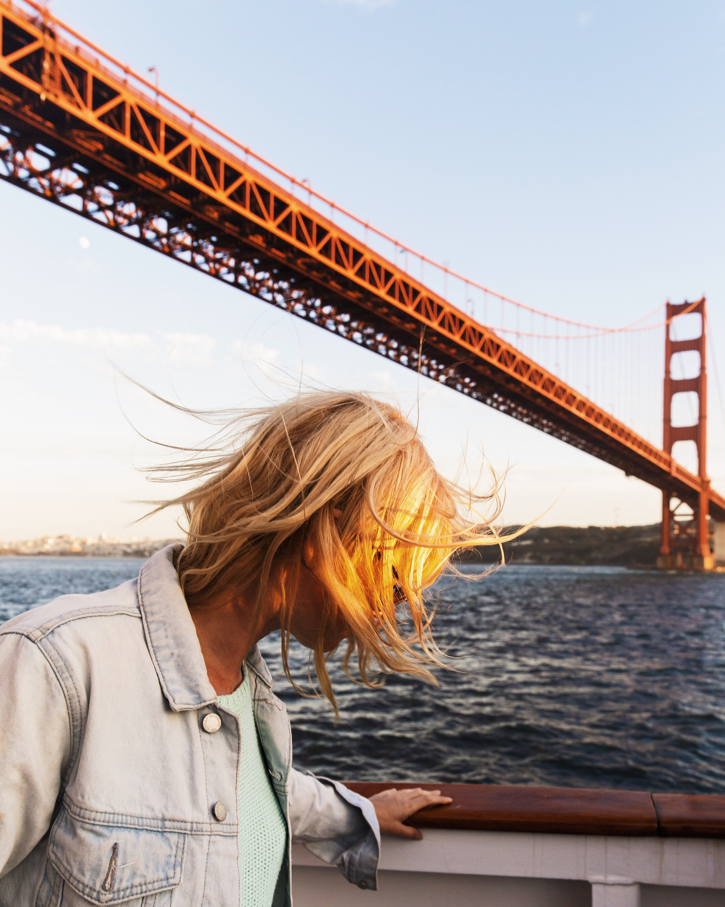 Golden Gate Bridge, Red, Wind, Hair, GGB, Girl, Sunset, Boat, Cruise