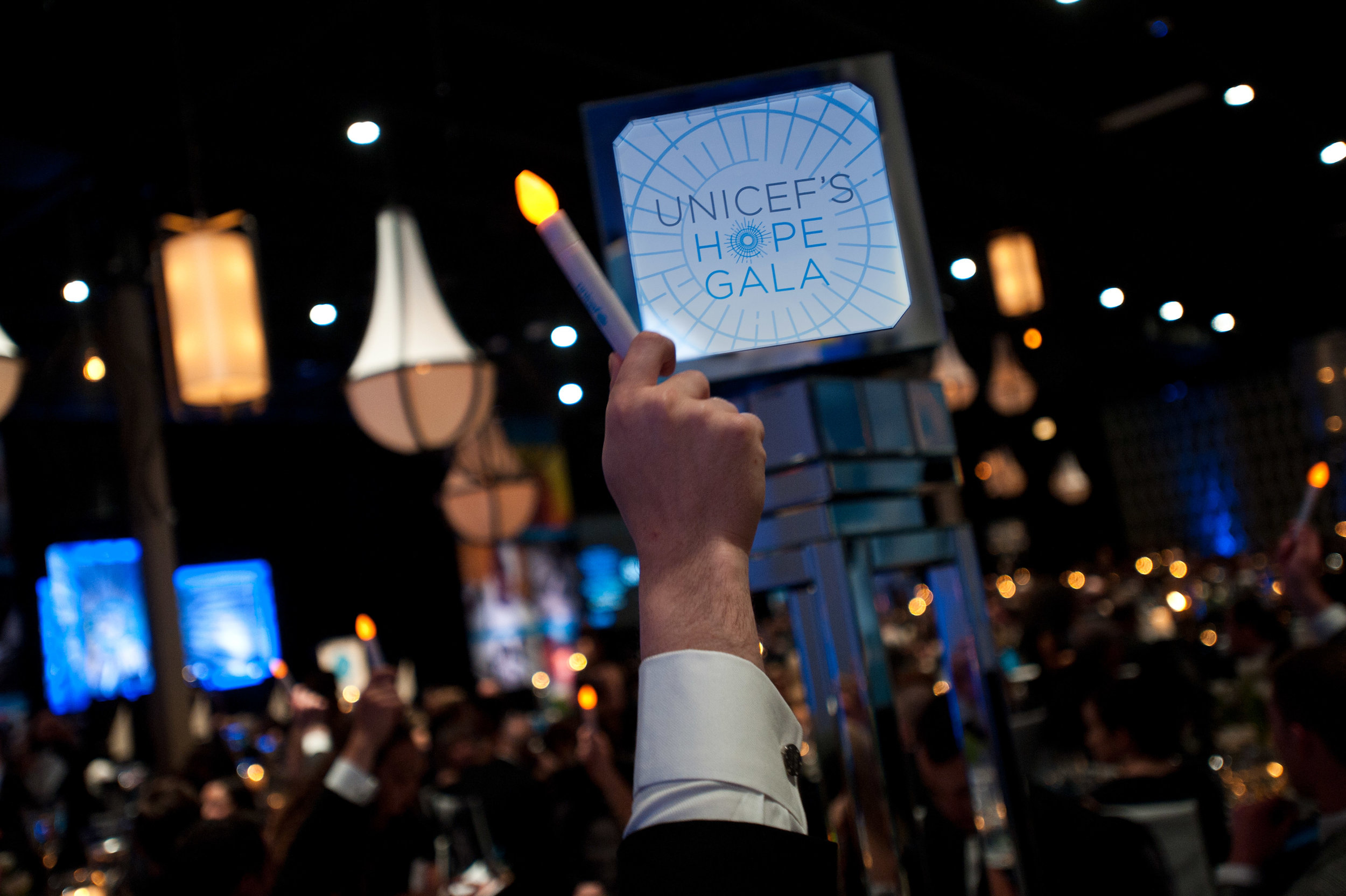 Guests bid on the live auction at the 2017 UNICEF's Hope Gala (c) 2017 Timothy Hiatt Photography