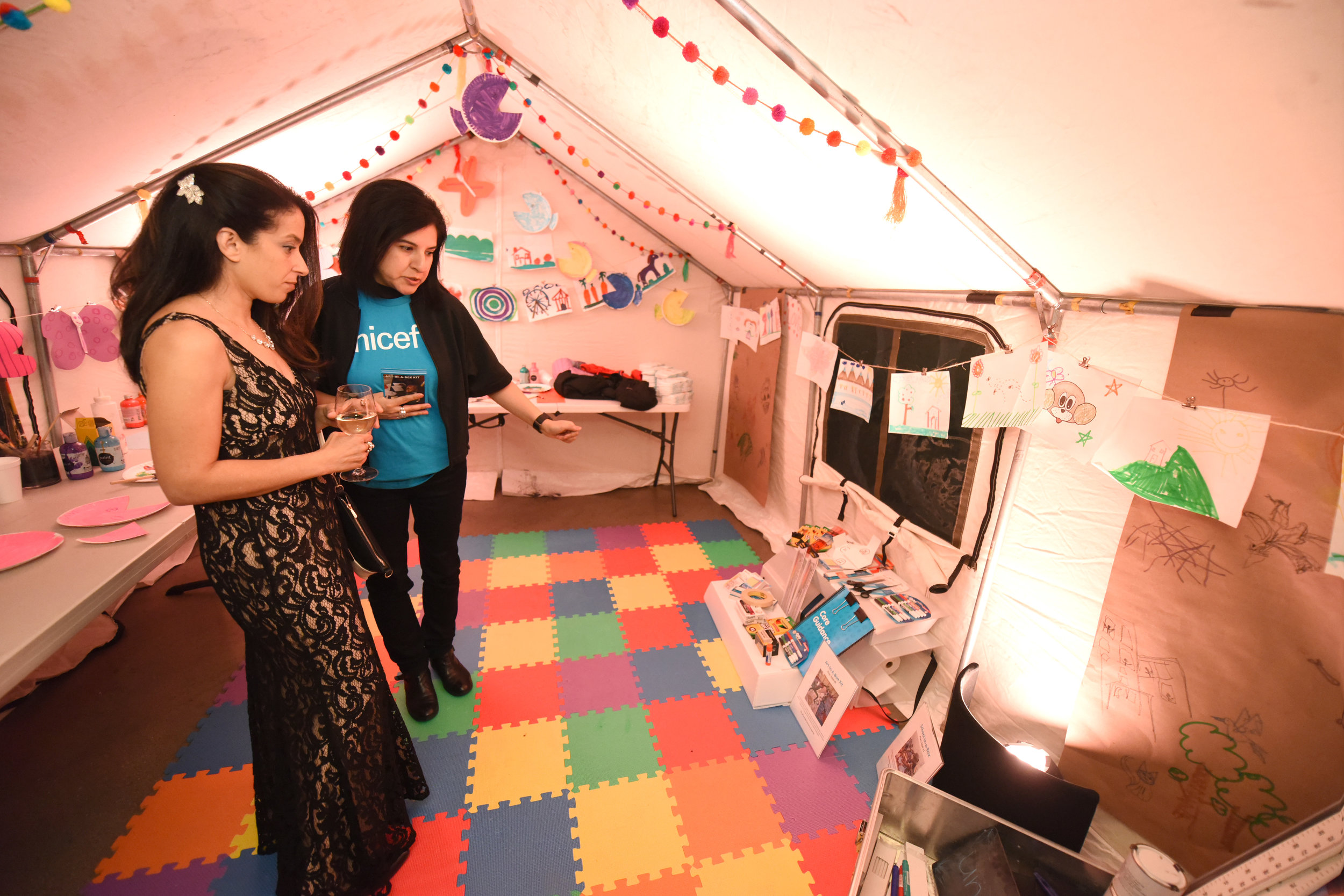 Guests enjoy a replication of a UNICEF Child Friendly space at the UNICEF Gala Chicago 2018. Photo Credit: Daniel Boczarski/Getty Images for UNICEF