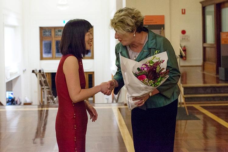 Liz accepting her award with sponsor Debra Parker of Watts McCray