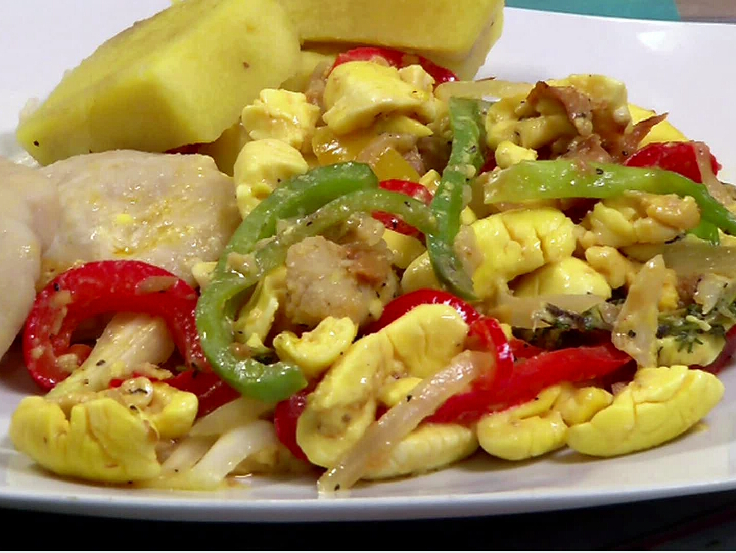 Ackee & salt fish with food