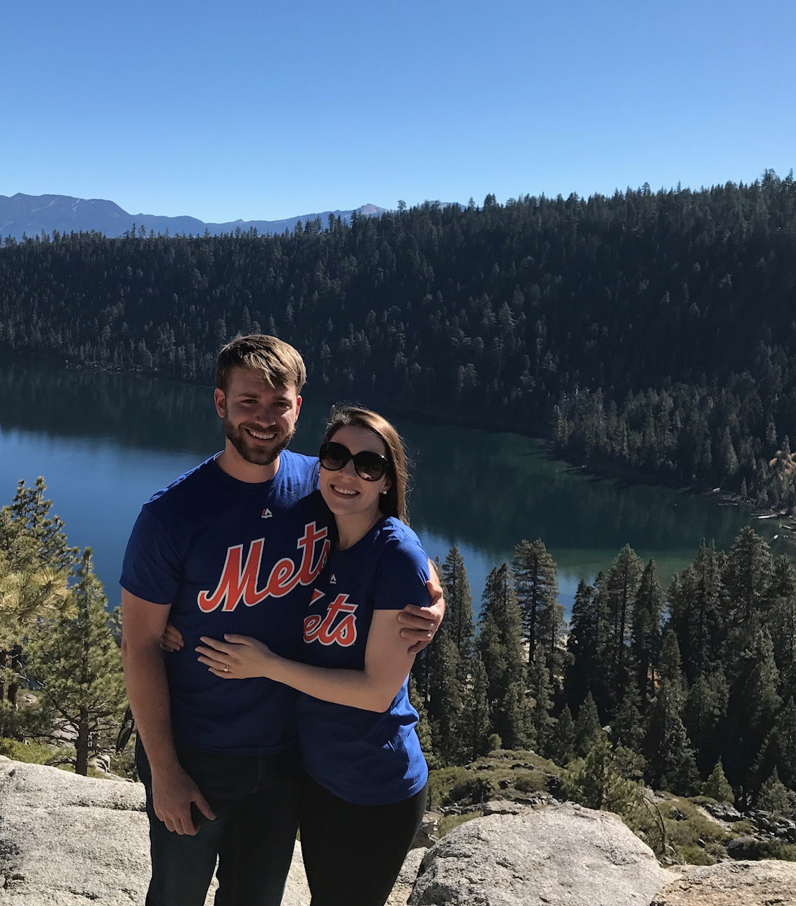 Atop Emerald Bay (in our Mets shirts from my friend Kristina!)