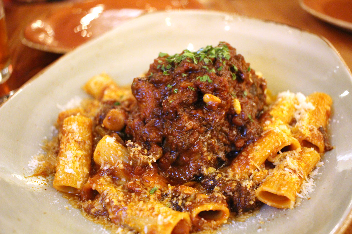 Oxtail over pasta, the best dish of the night.