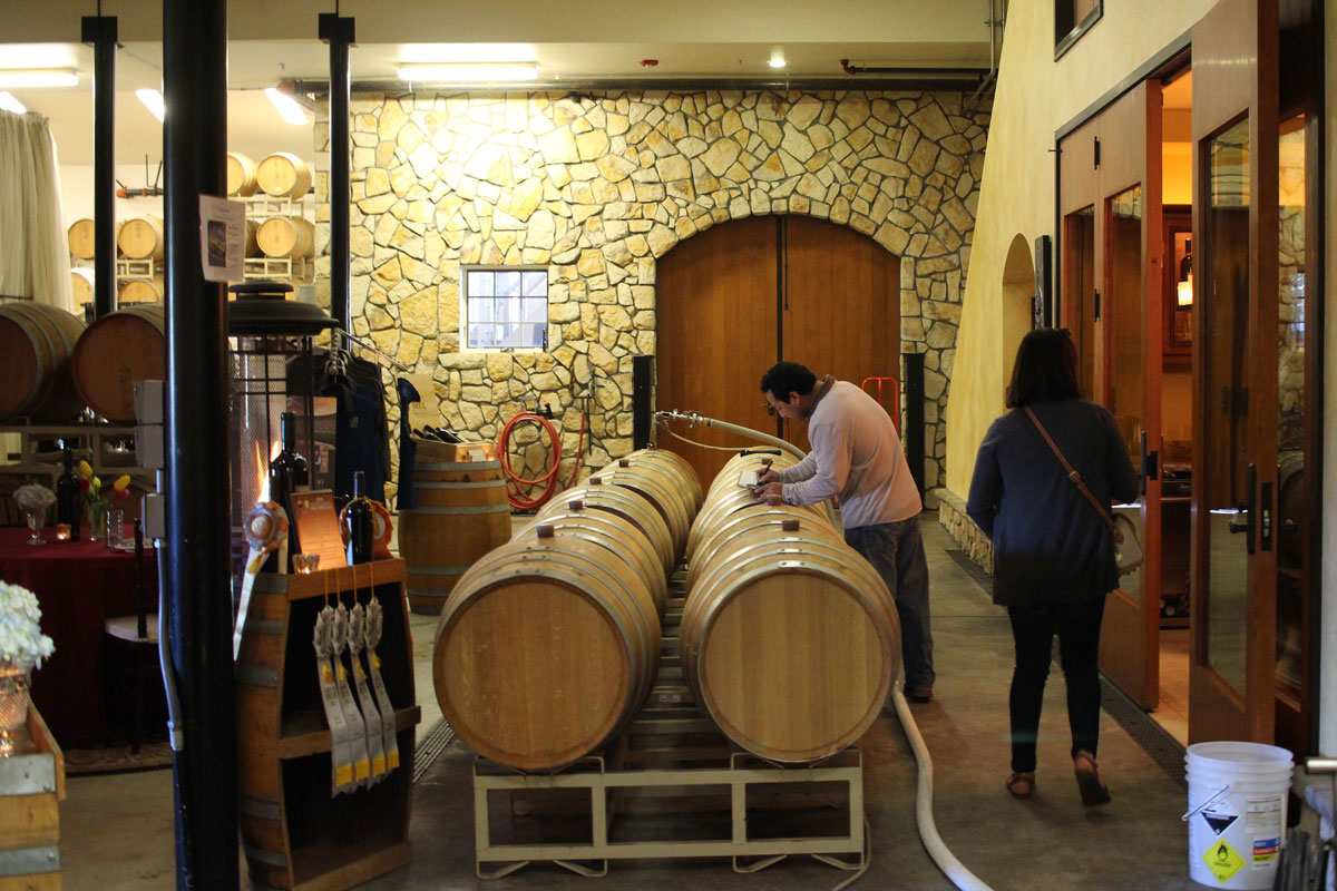 Wine production at Bell Wine Cellars in Napa