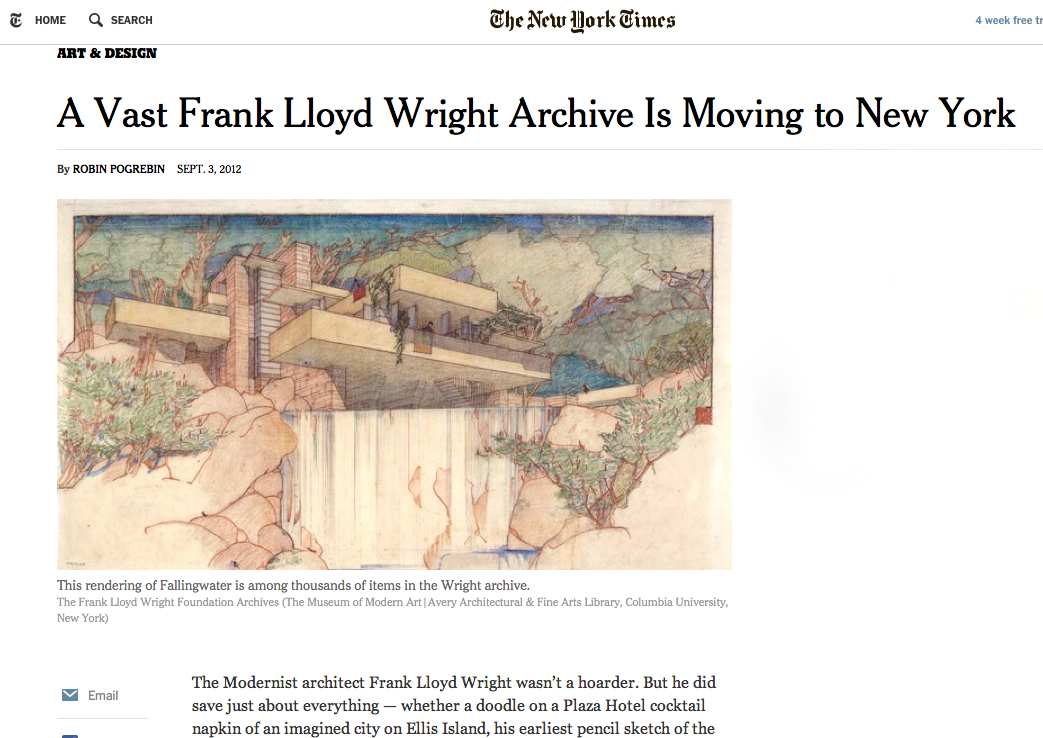 New York Times — FLW Foundation Archives