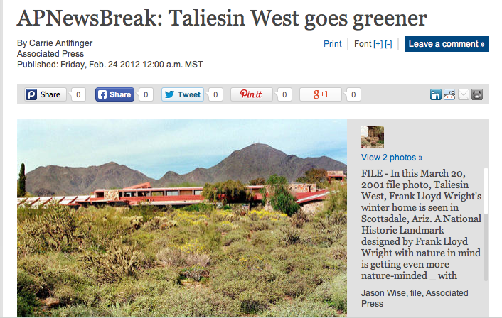 Associated Press — Energizing Taliesin West