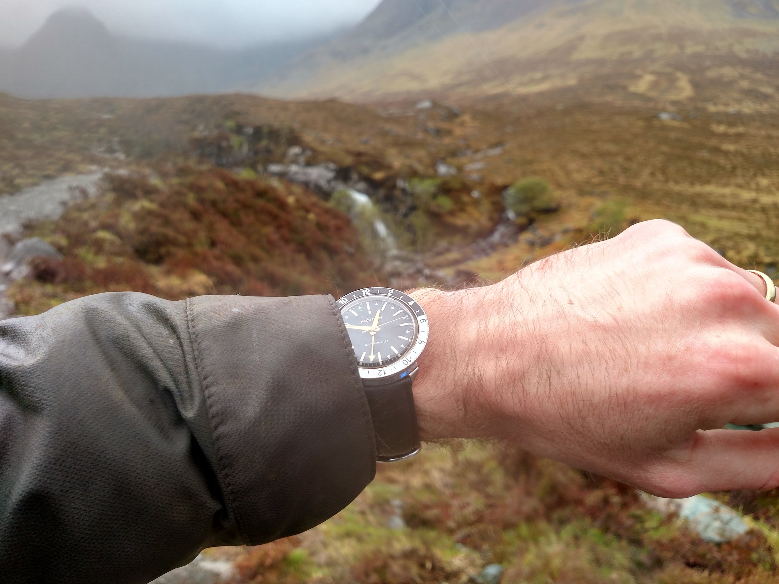 1968 Bulova Accutron Astronaut 'T' at the Fairy Pools  Glen Brittle, Allt Coir' a' Mhadaidh rivier, Isle of Skye, Scotland