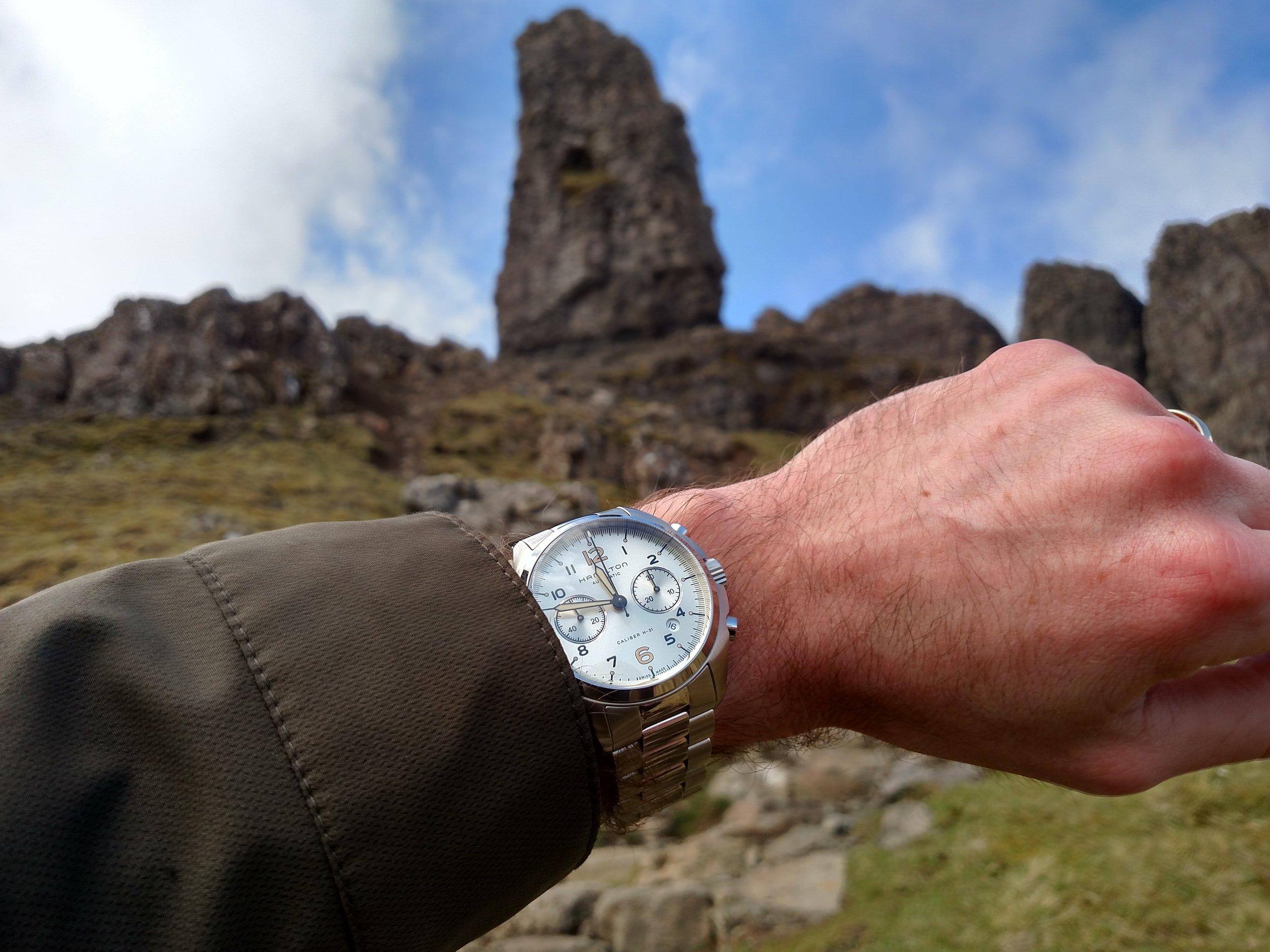 Hamilton Khaki Pilot Pioneer at the Old Man of Storr  Portree, Isle of Skye, Scotland