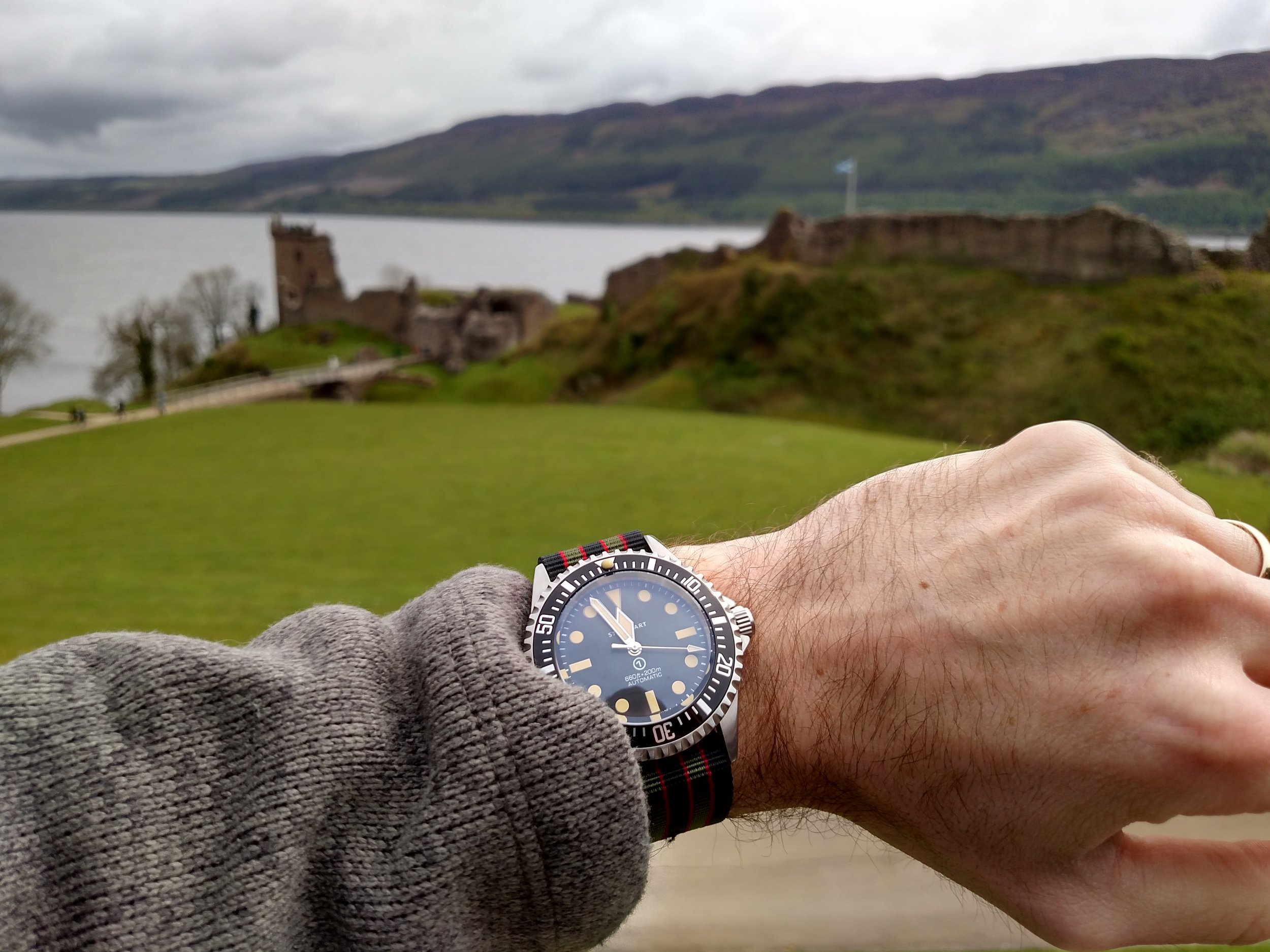 Steinhart Ocean Vintage Military at Urquhart Castle on Loch Ness  Drumnadrochit, Highlands, Scotland