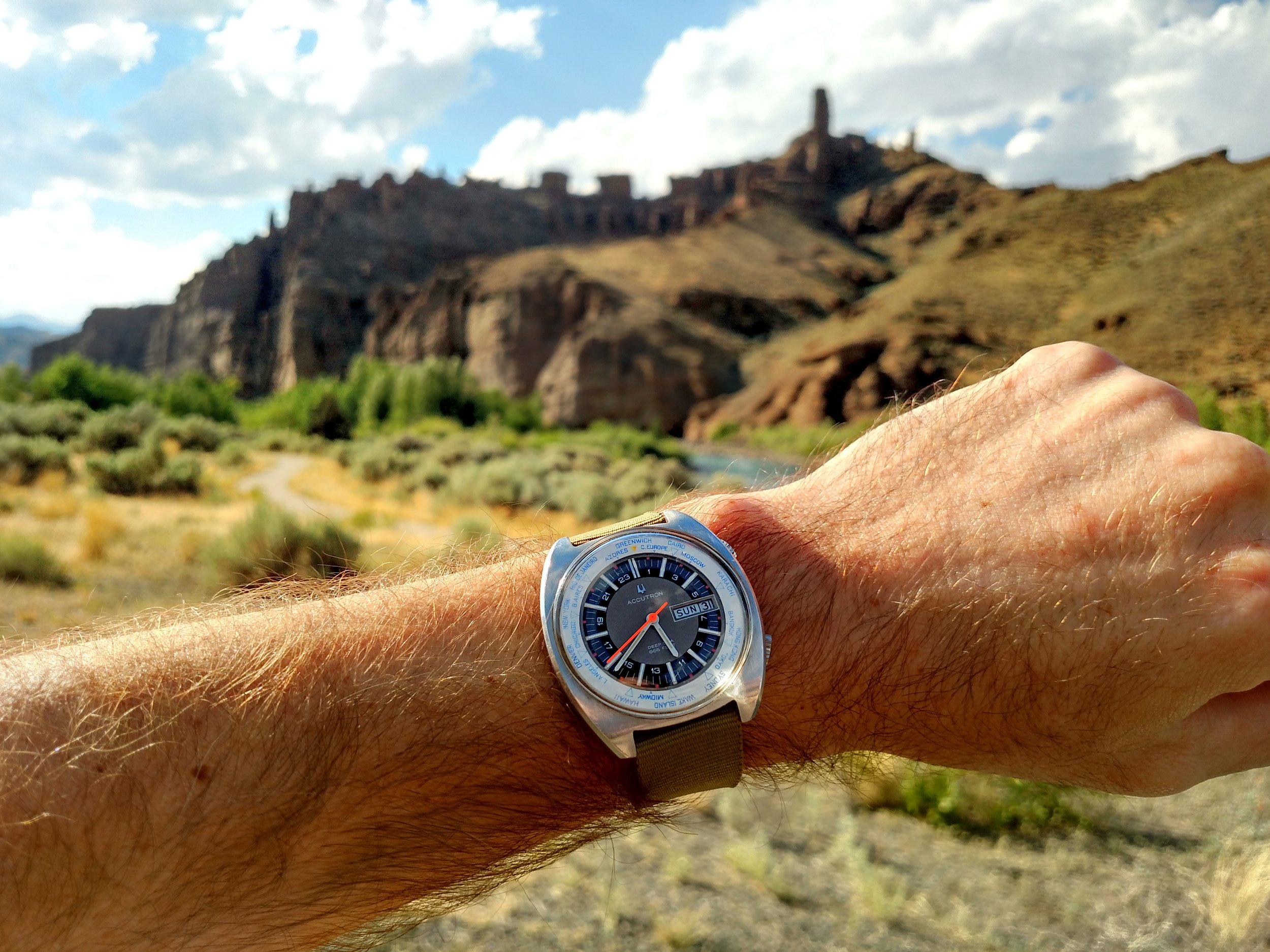 "1970 Bulova Accutron Deep Sea World Timer at ""The Holy City""  Near Wapiti, Shoshone National Forest, Wyoming"
