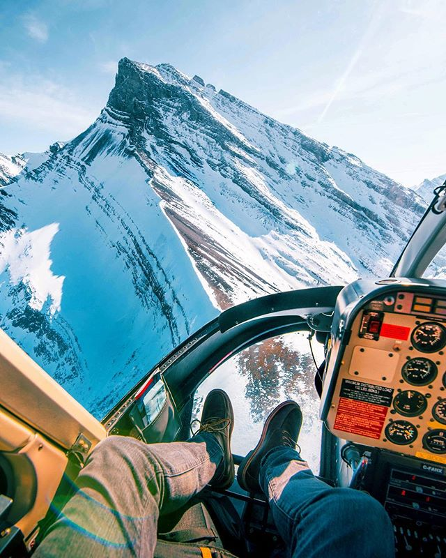 Soaring through the Canadian Rockies. Helicopters give me the strangest feeling; it's like a mixture of bliss and exhilaration, plus the coolest perspective ever.