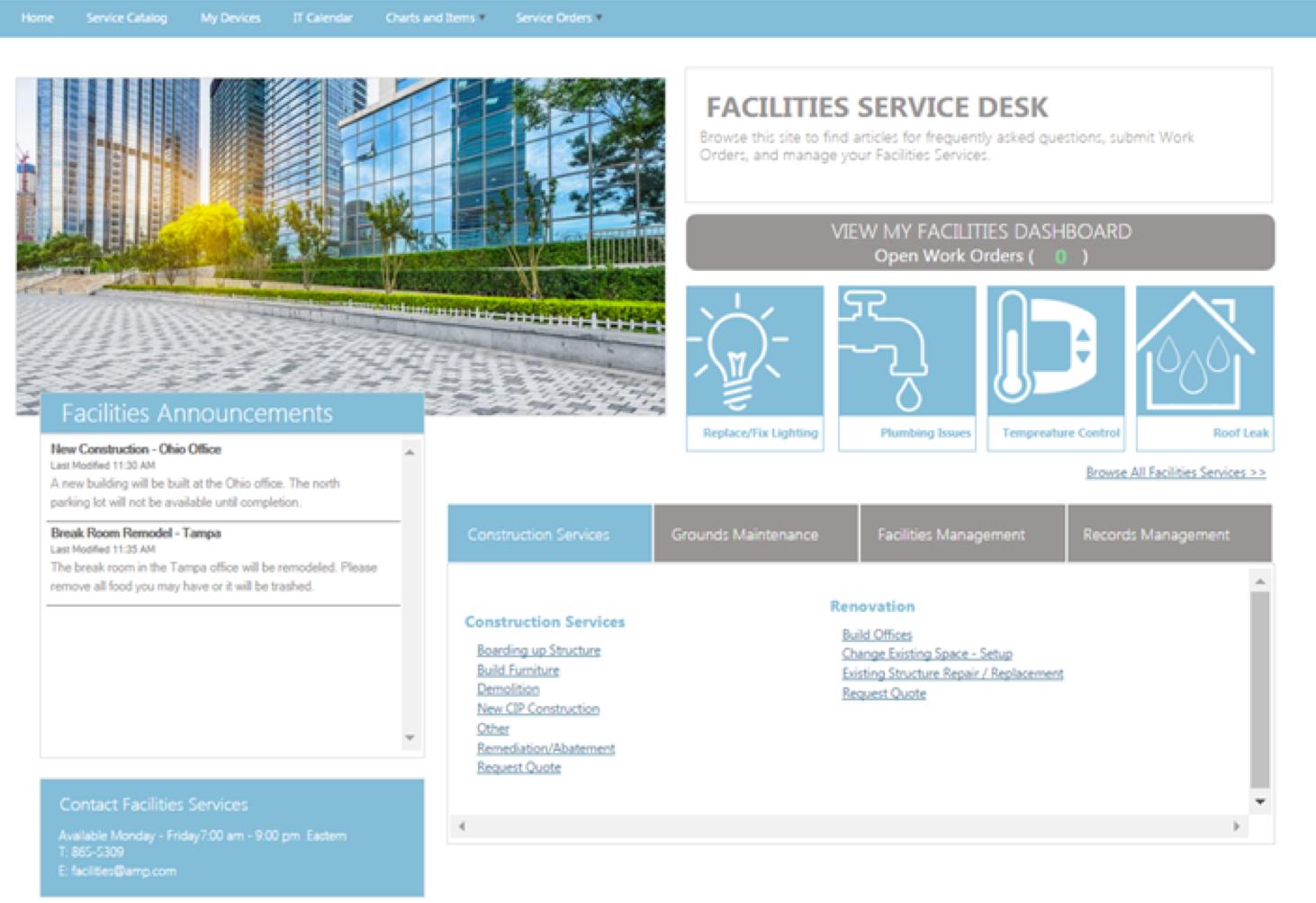 Exempel på AMP:s Facilities Portal.