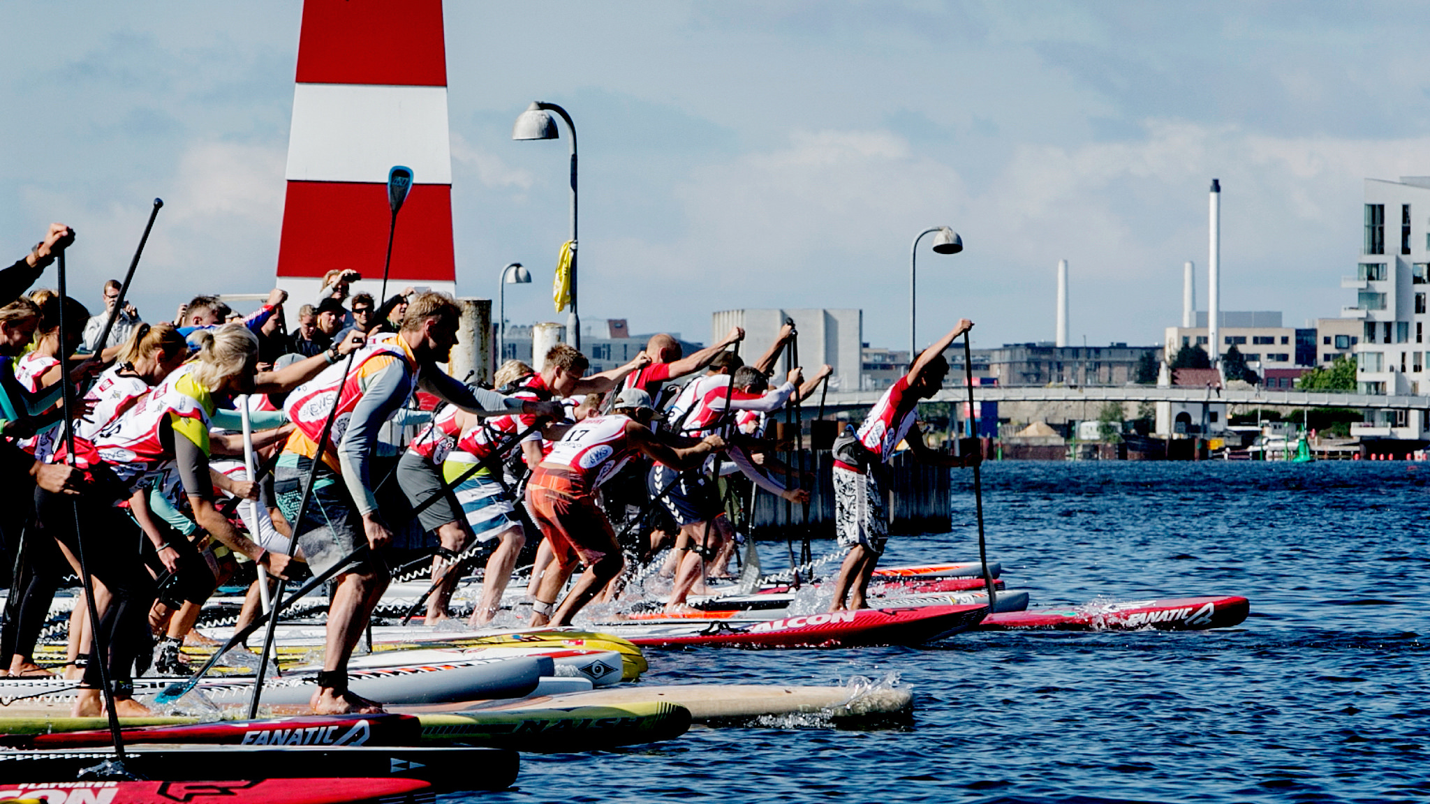 Copenhagen Harbour, during the Danish Standup Paddle Championship 2014. Credit: Jill Christina Hansen