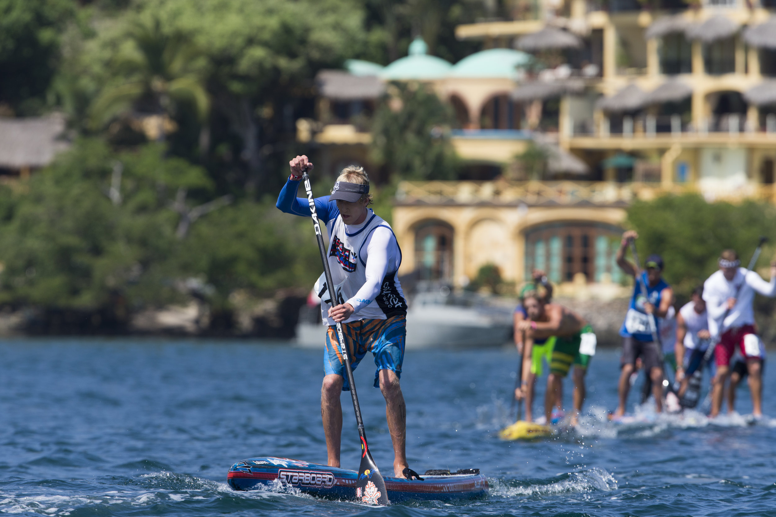 Connor Baxter, the top ranked SUP racer in the world (according to  supracer.com ), will be competing in all three SUP racing disciplines in Denmark. Photo: ISA / Brian Bielmann