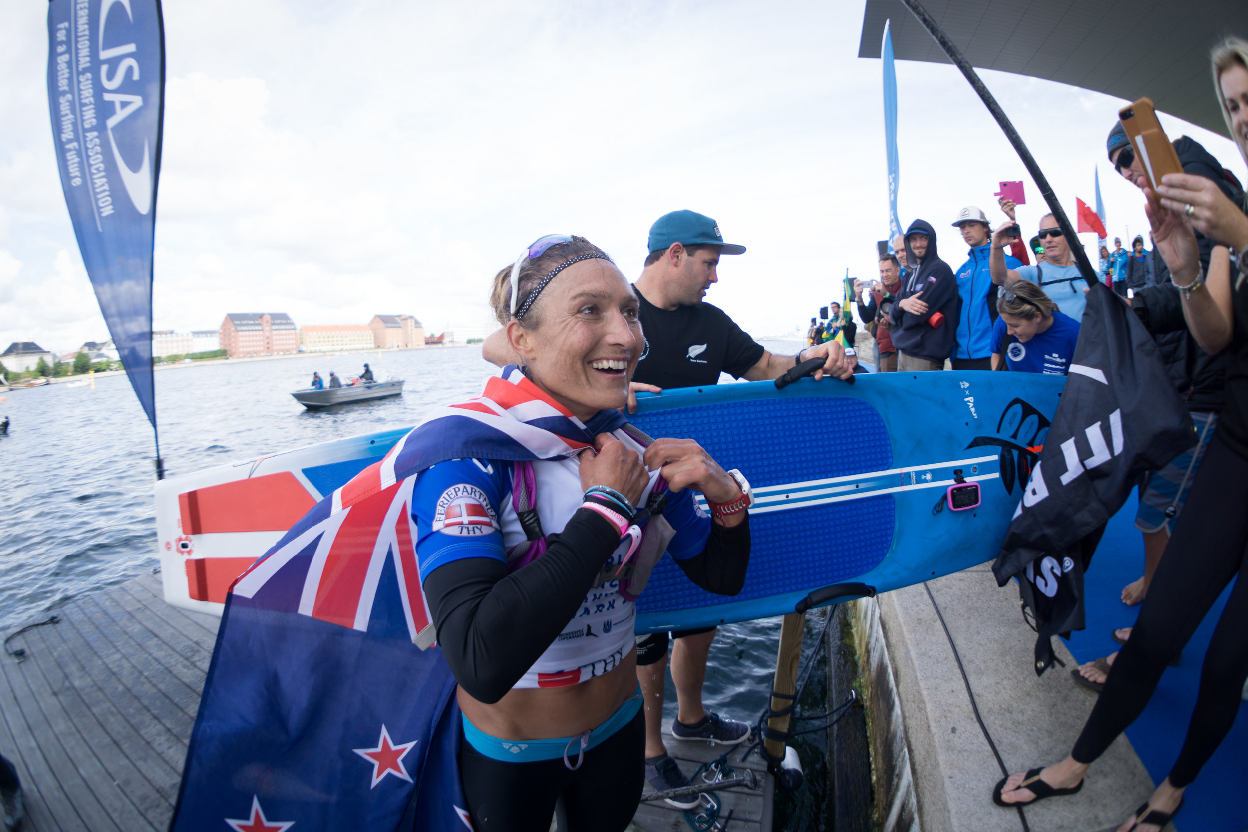 New Zealand powerhouse Annabel Anderson after winning the Women's SUP Distance Race in Copenhagen.
