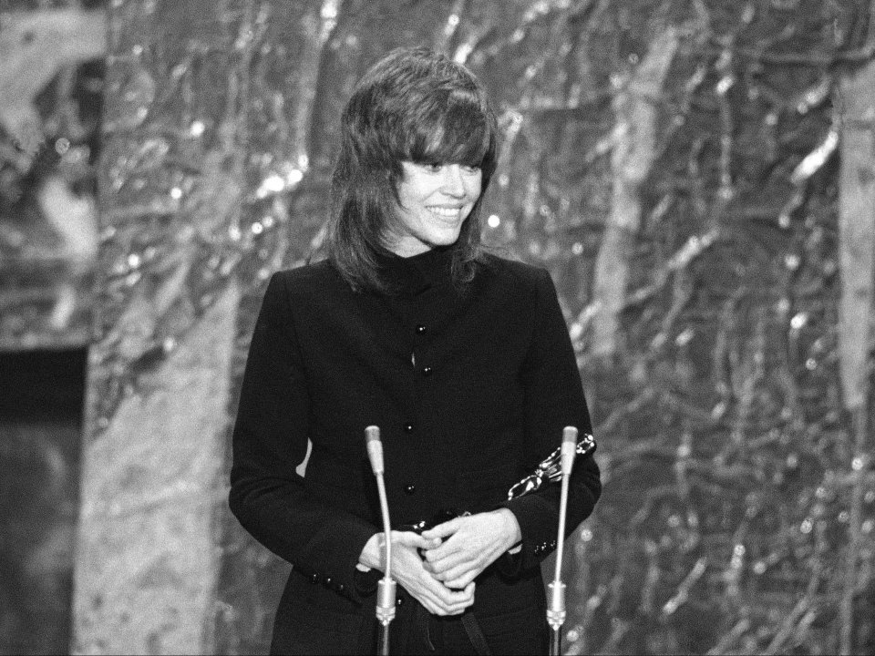 Jane Fonda accepts her Academy Award for Best Actress, 1972
