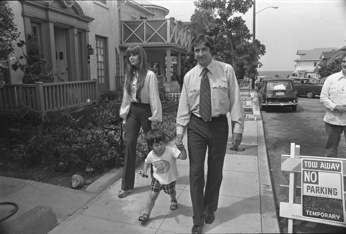 Jane Fonda, Tom Hayden and their son Troy Garity, Santa Monica, c. 1975