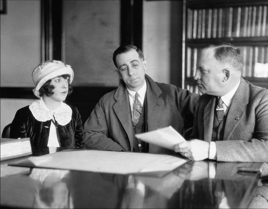 Mabel Normand is questioned during the inquest surrounding William Desmond Taylor's death in 1922. (AP Photo)