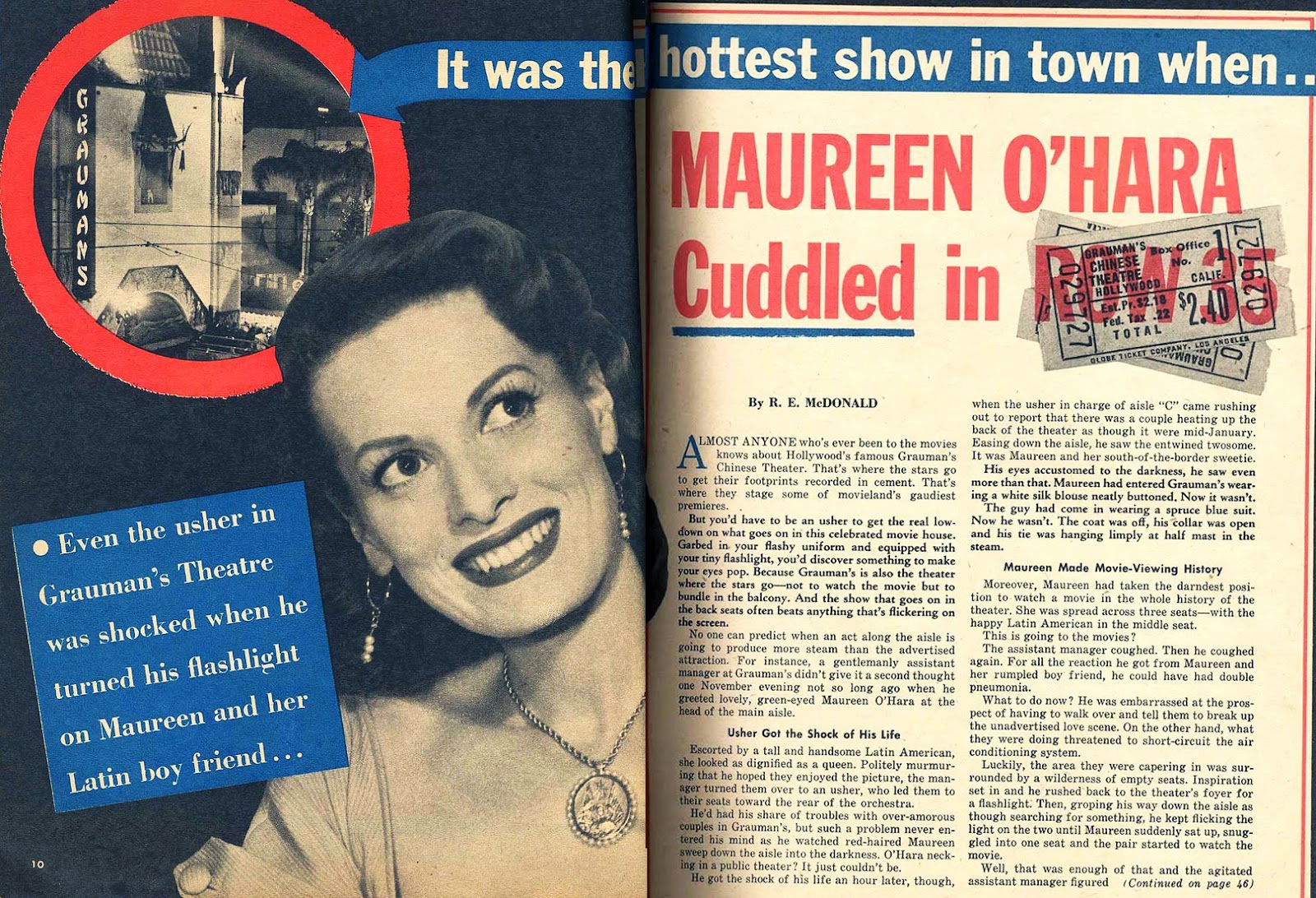 Maureen O'Hara in Confidential Magazine, March 1957