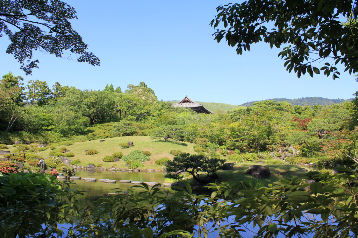 Isuien Garden with a view of the Temple and surrounding hills - a great example of borrowed vistas.