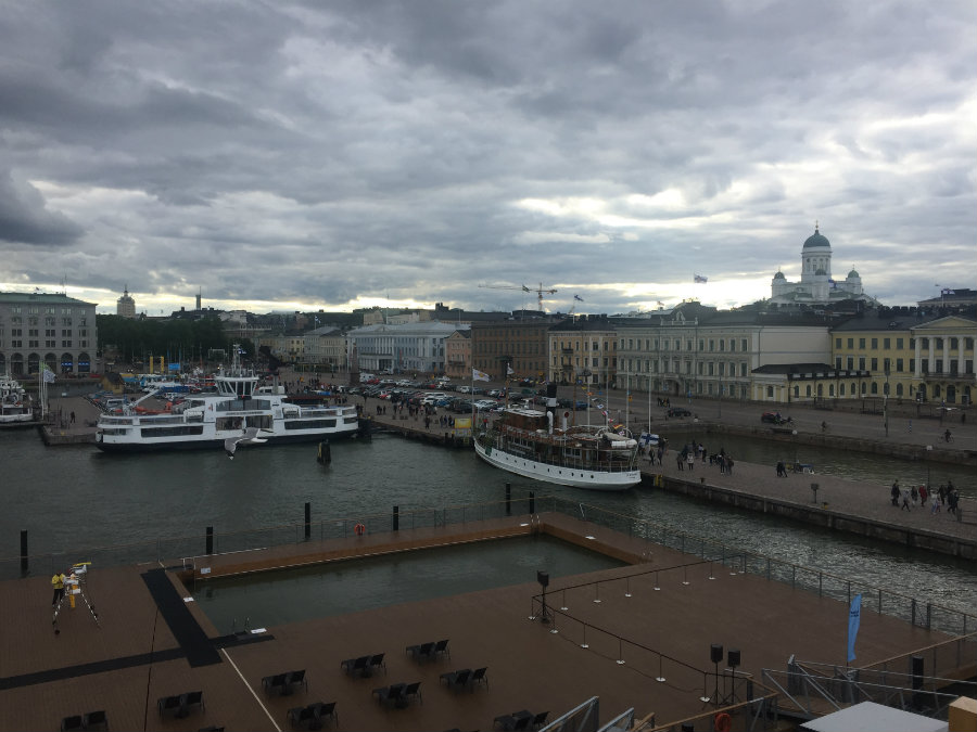Helsinki waterfront.  The large building to the right is Helsinki Cathedral - aka the 'White Church'.
