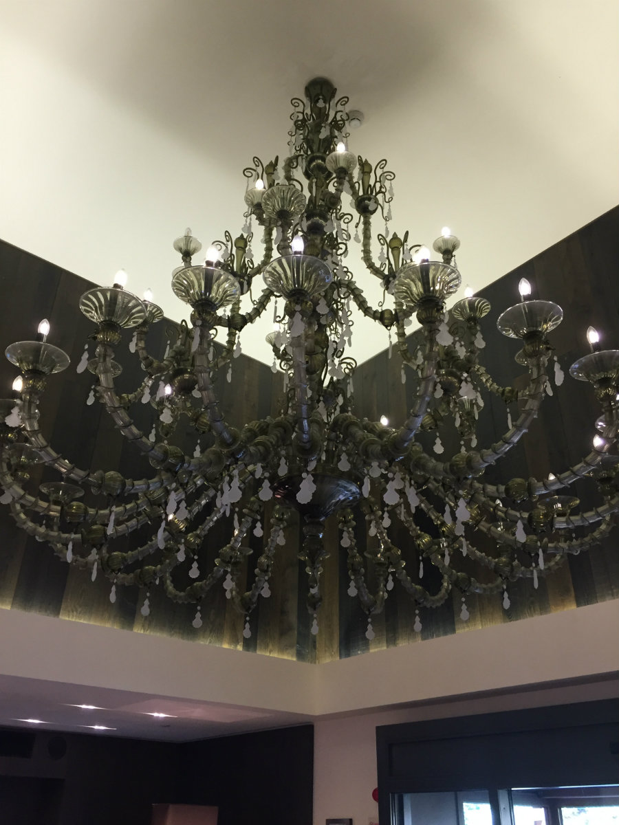 This chandelier is in the foyer of the hotel.